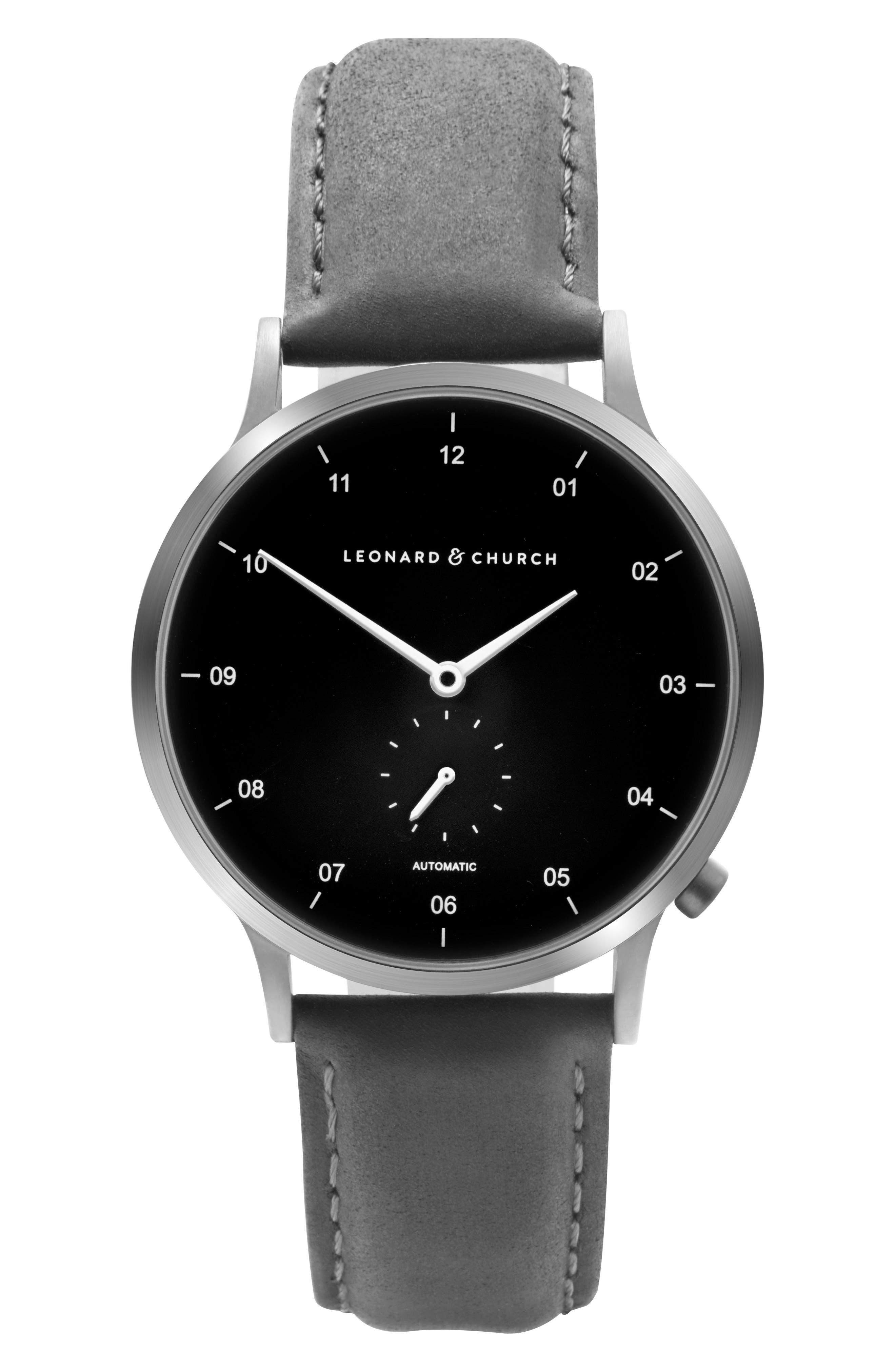 Leonard & Church Sullivan Automatic Suede Strap Watch, 39mm,                         Main,                         color, BLACK