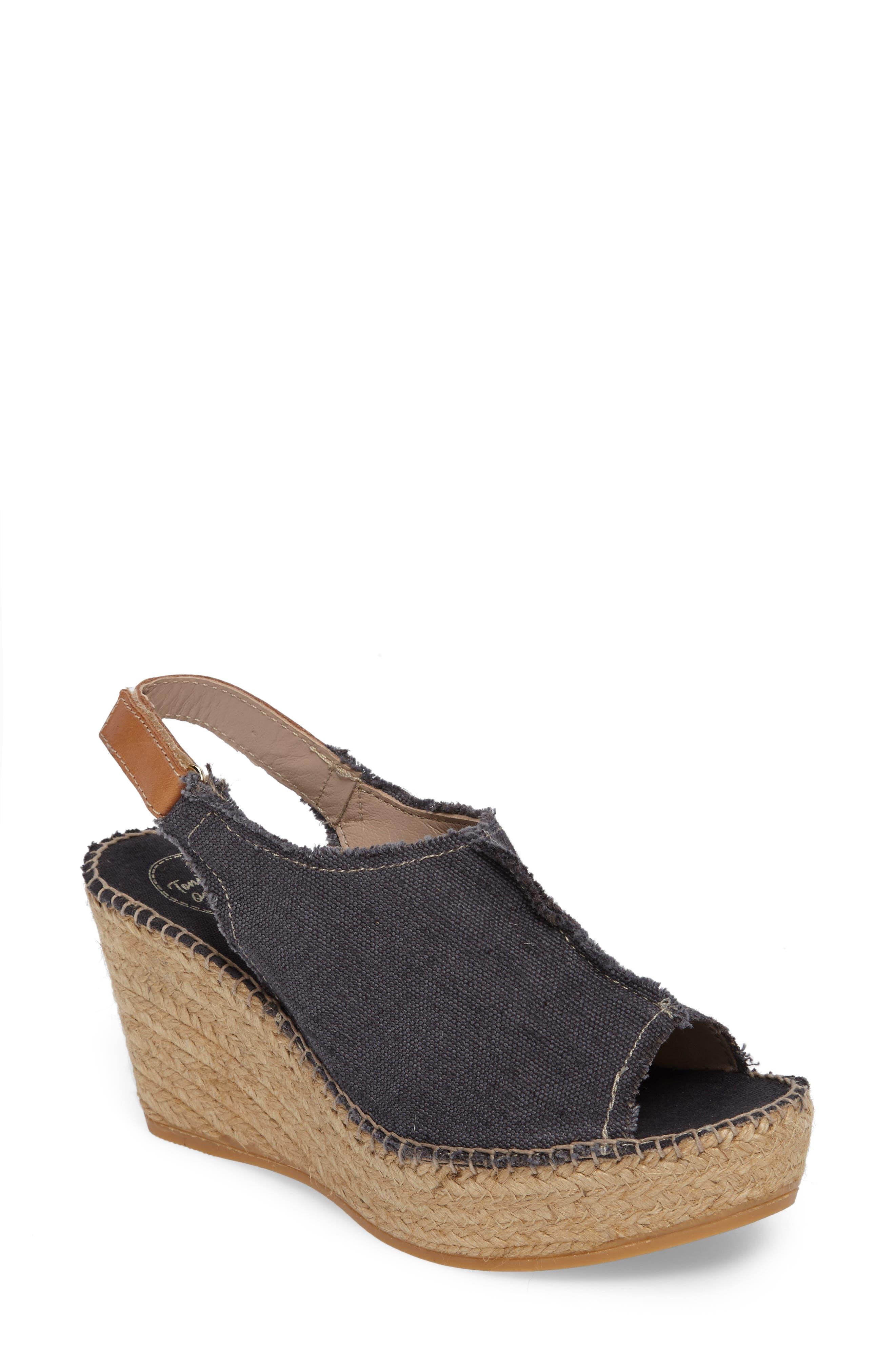 'Lugano' Espadrille Wedge Sandal,                             Main thumbnail 1, color,                             BLACK FABRIC