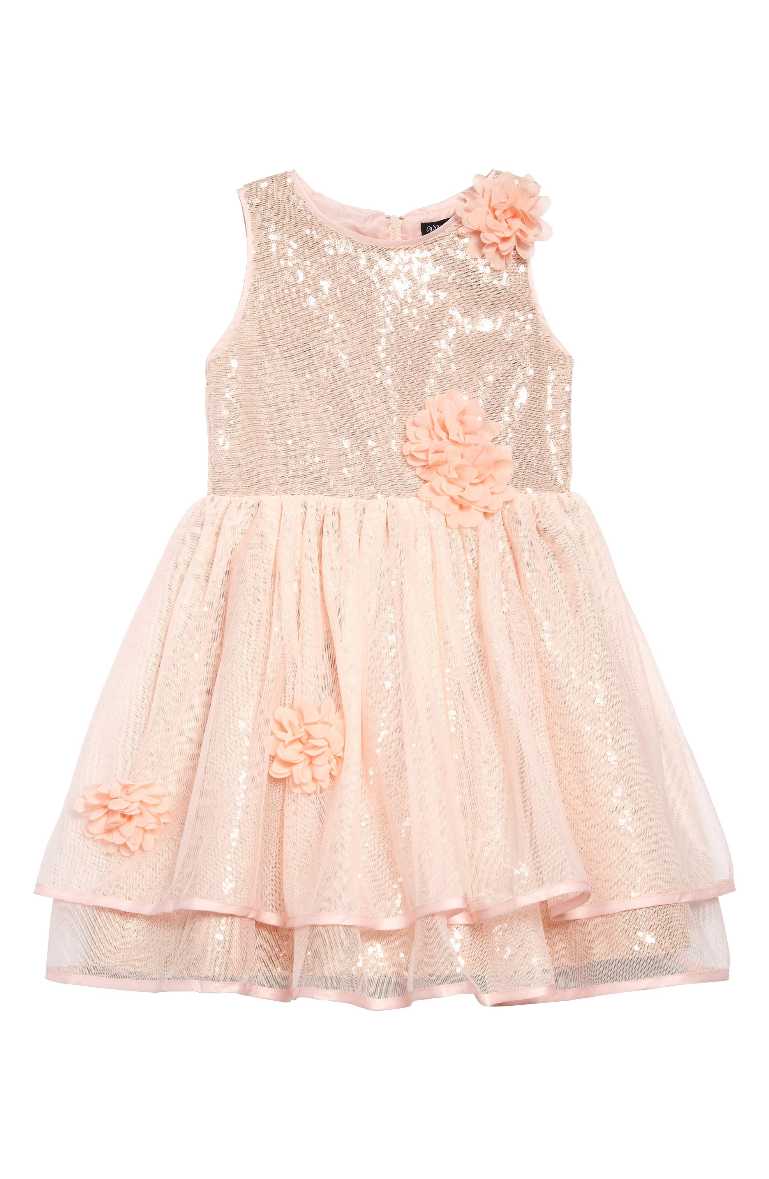 AVA & YELLY Floral Appliqué Sequin Dress, Main, color, BLUSH