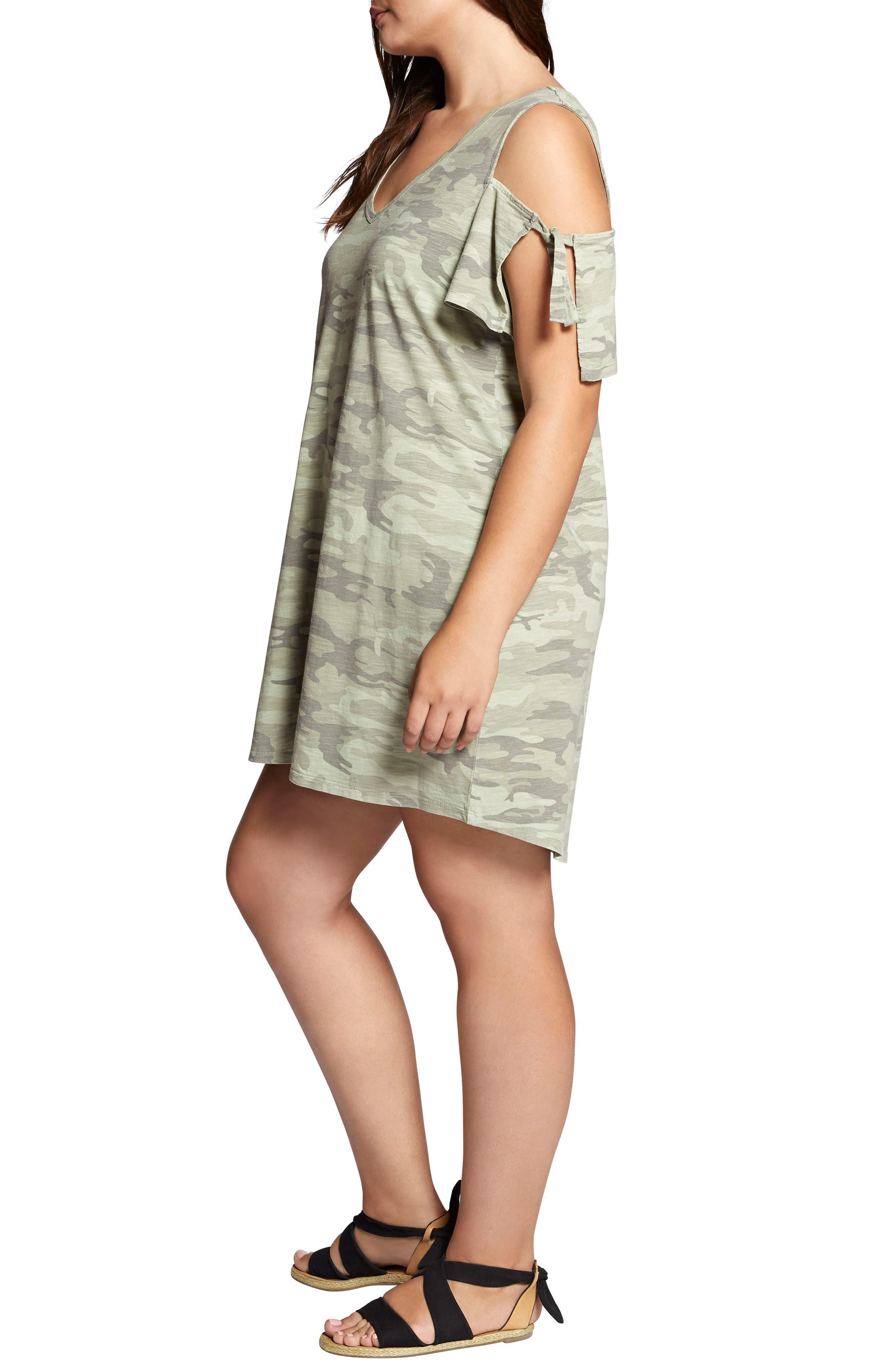 Lakeside Camo Cold Shoulder T-Shirt Dress,                             Alternate thumbnail 3, color,                             CADET CAMO