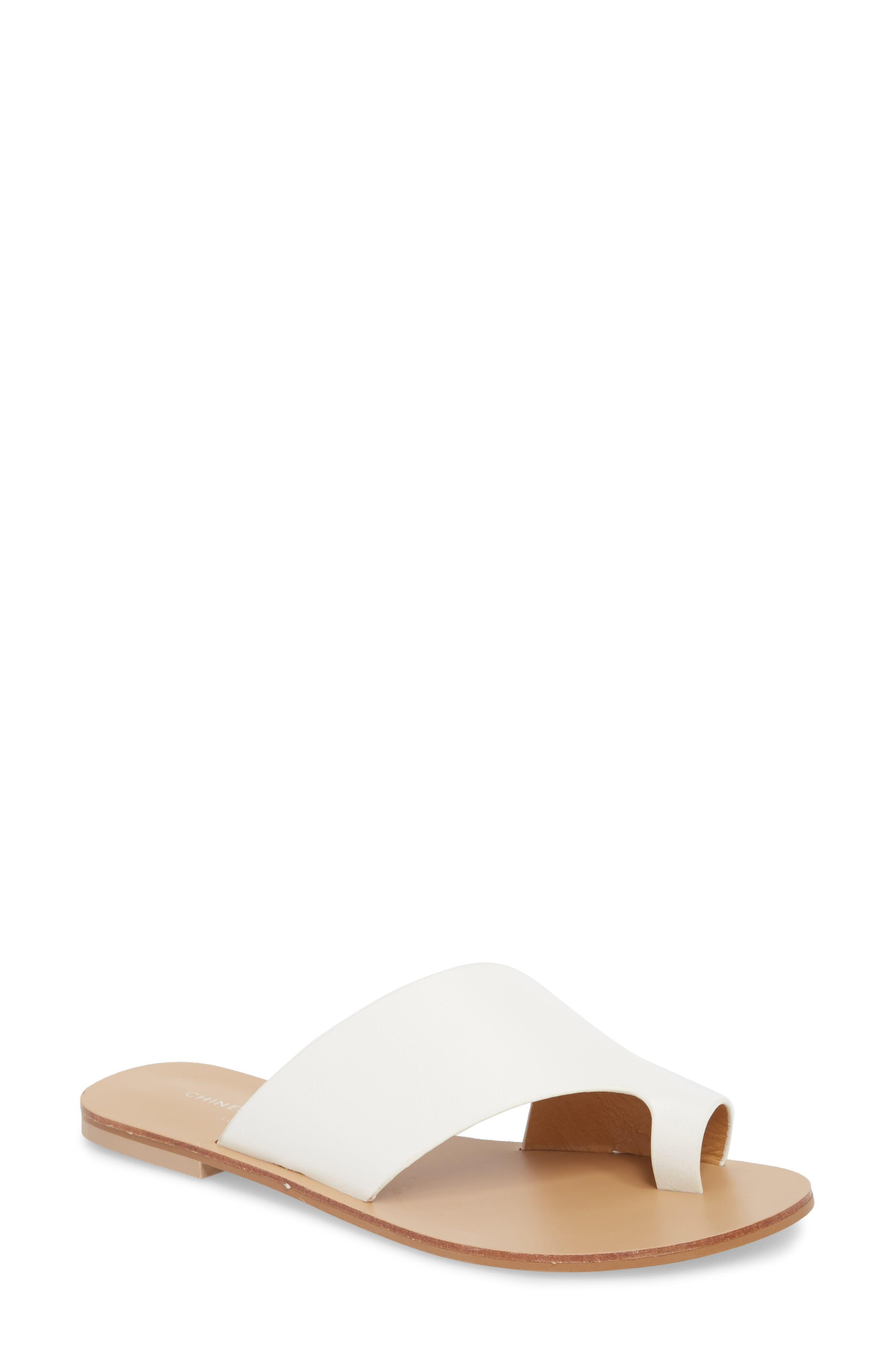 Glory Asymmetrical Slide Sandal,                             Main thumbnail 1, color,                             WHITE