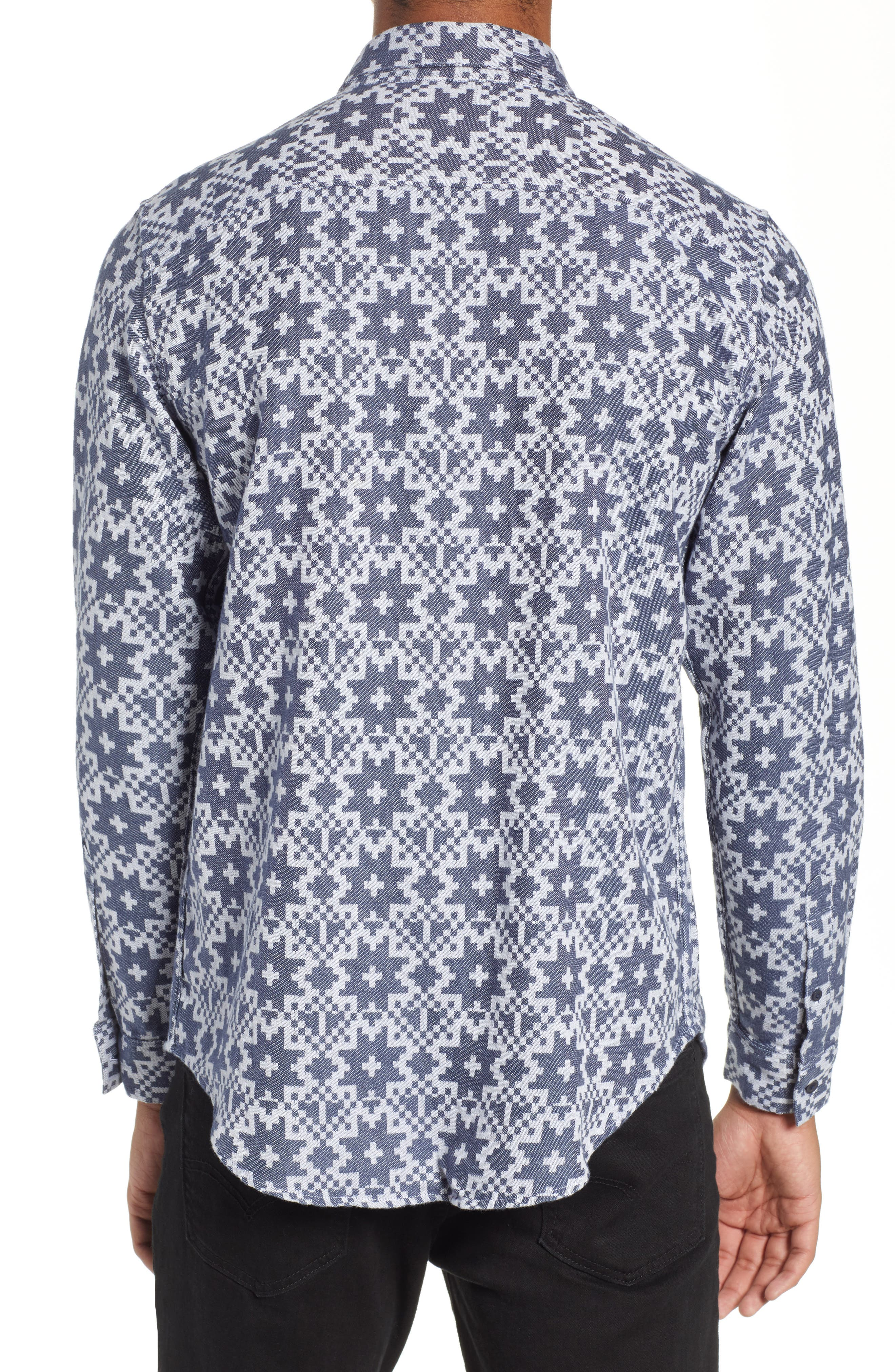 Standard Geo Jacquard Sport Shirt,                             Alternate thumbnail 3, color,                             GEO JACQUARD