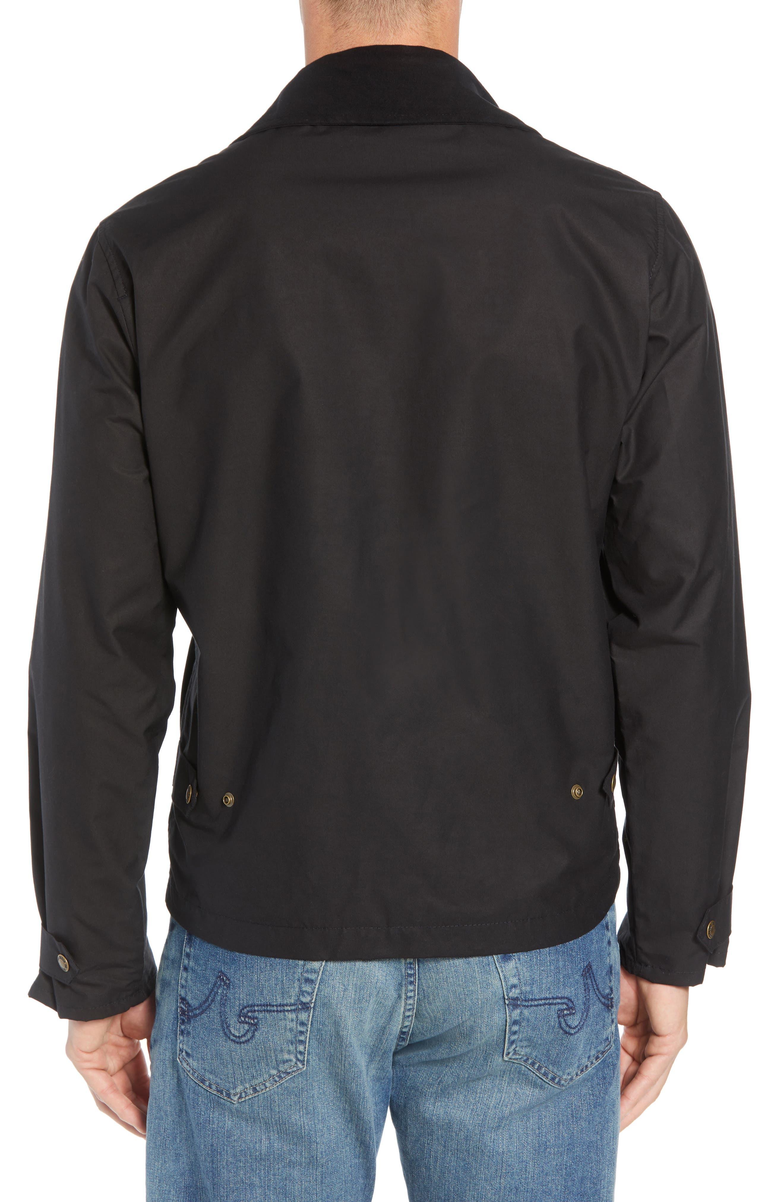 Short Mile Marker Waxed Cotton Jacket,                             Alternate thumbnail 2, color,                             BLACK