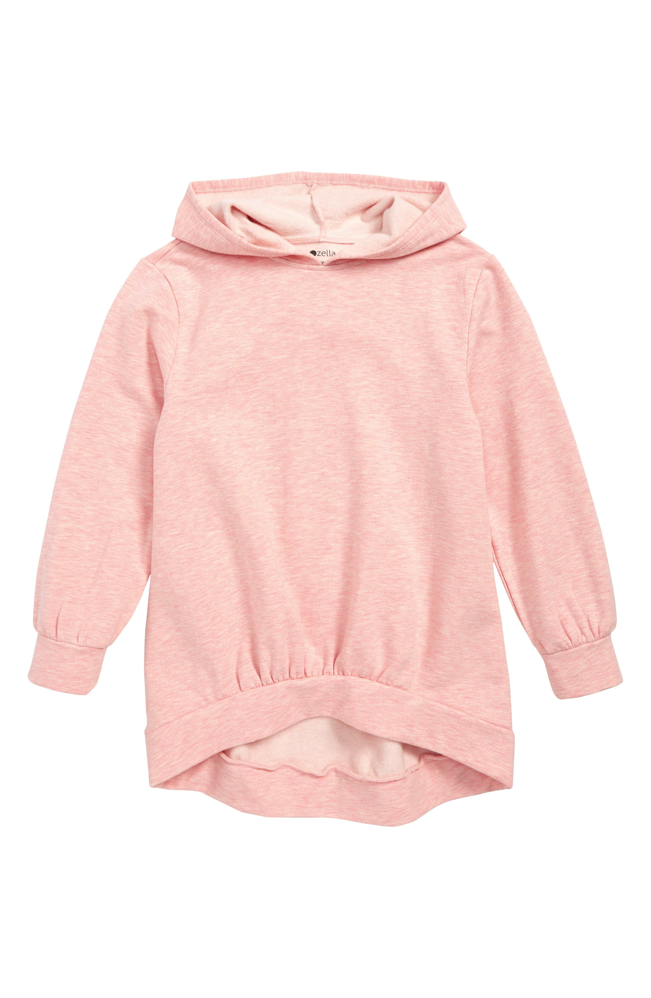 Gather Hem Hoodie,                             Main thumbnail 1, color,                             PINK CREPE HEATHER