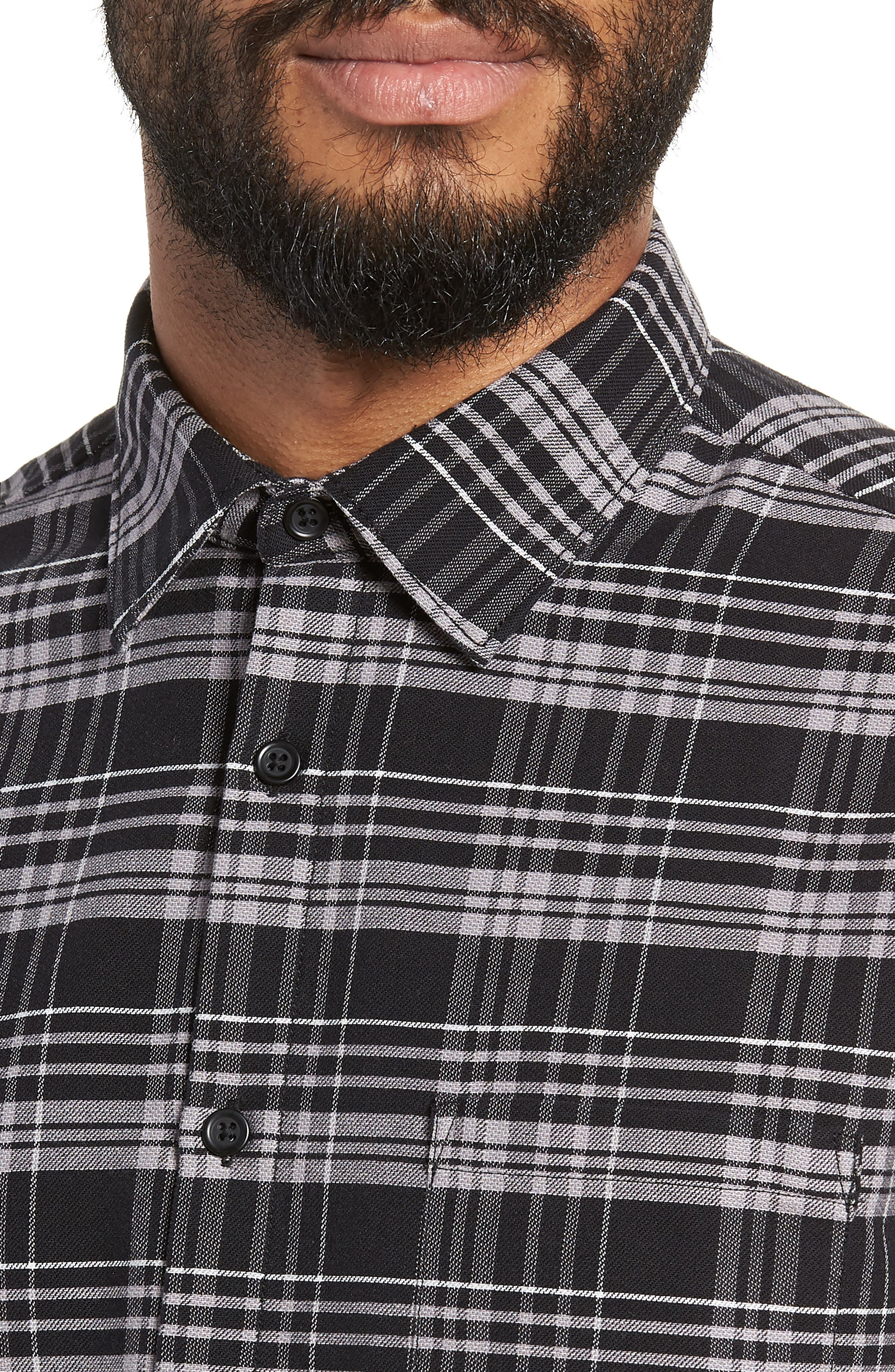 Roy Plaid Sport Shirt,                             Alternate thumbnail 2, color,                             BLACK CHECK