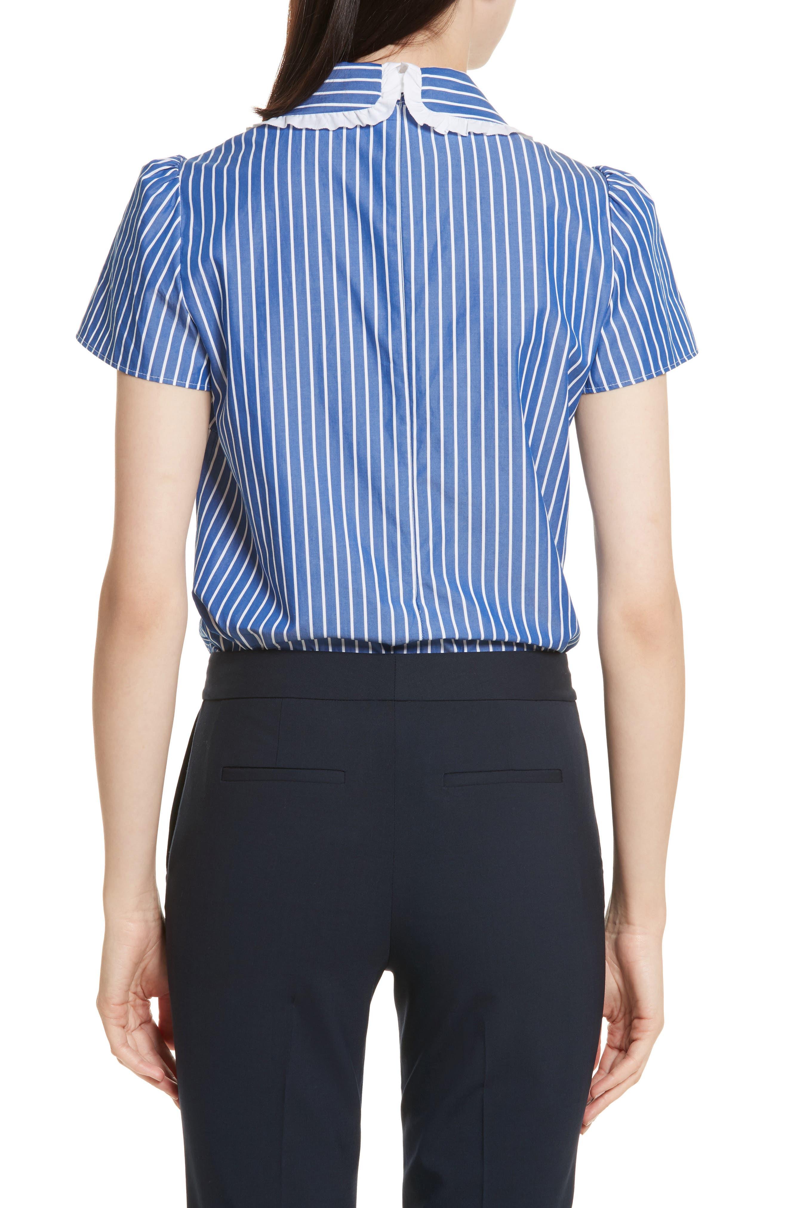 Tie Neck Stripe Cotton Poplin Top,                             Alternate thumbnail 2, color,                             410