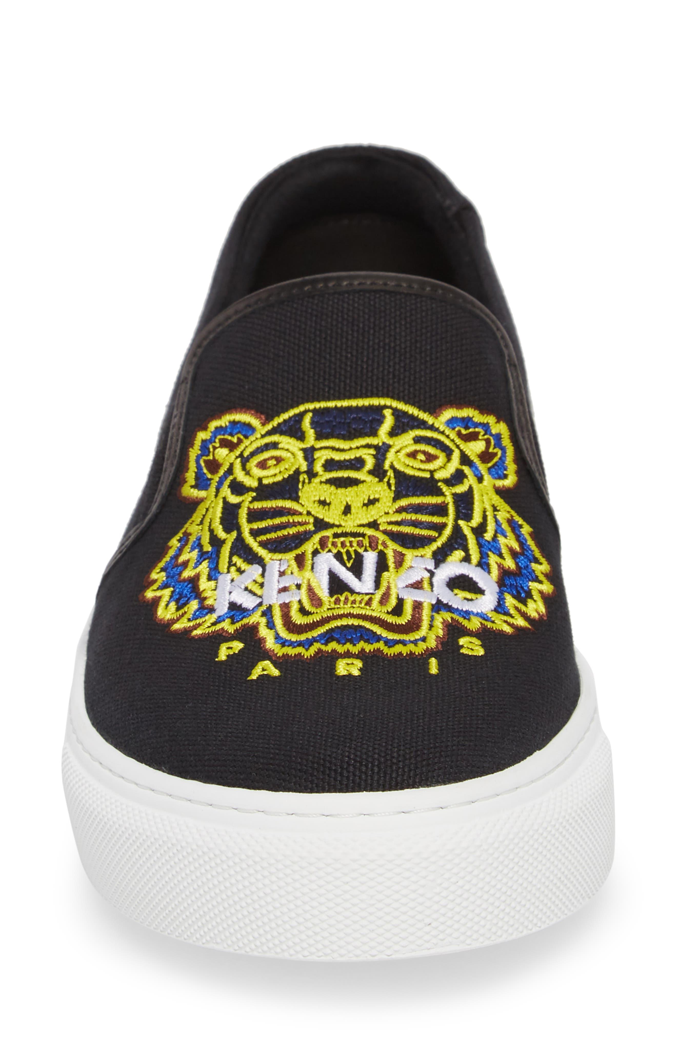 K Skate Embroidered Slip-On Sneaker,                             Alternate thumbnail 4, color,                             BLACK LEATHER