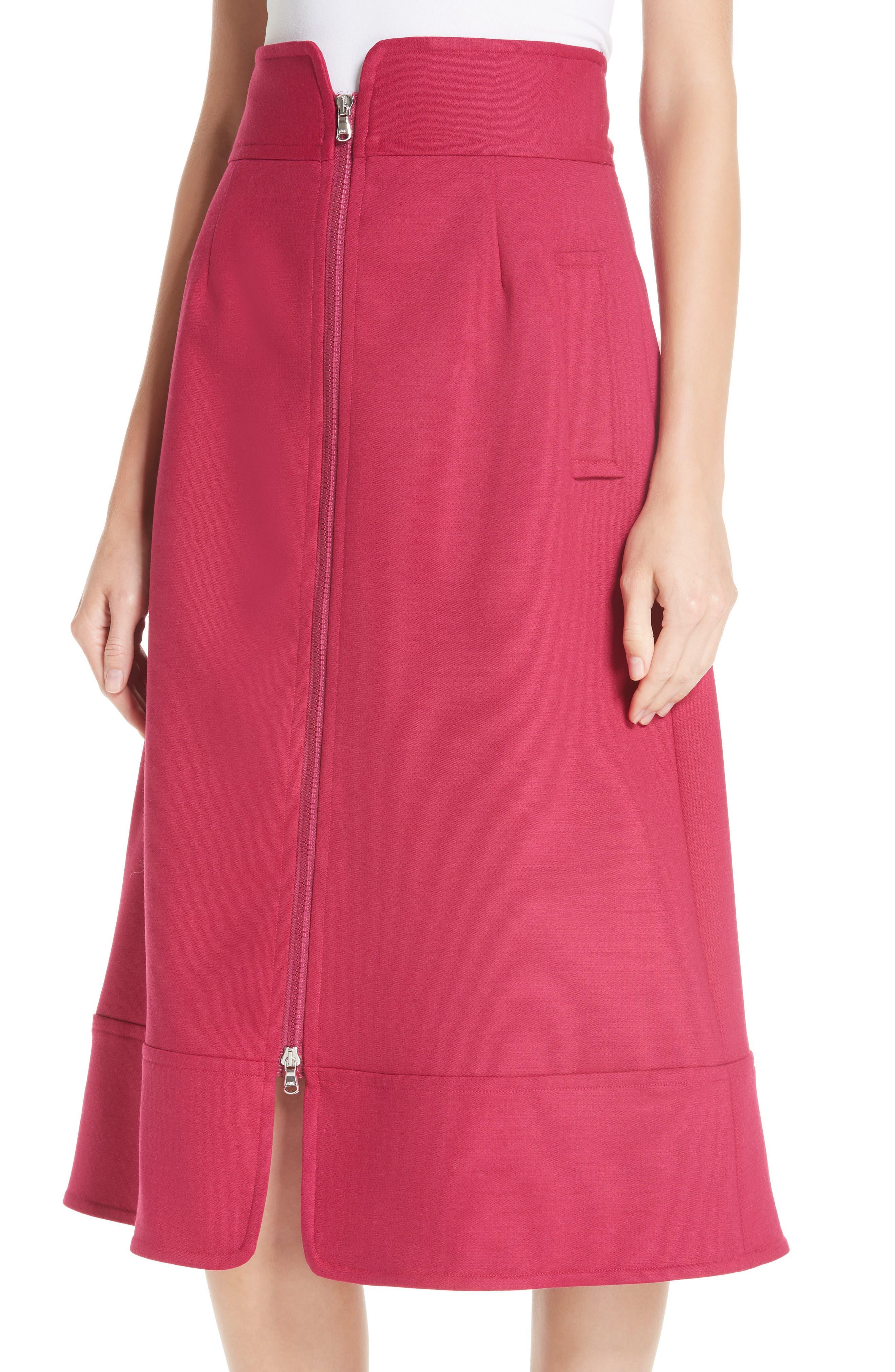 Zip Front A-Line Skirt,                             Alternate thumbnail 4, color,                             FUCHSIA