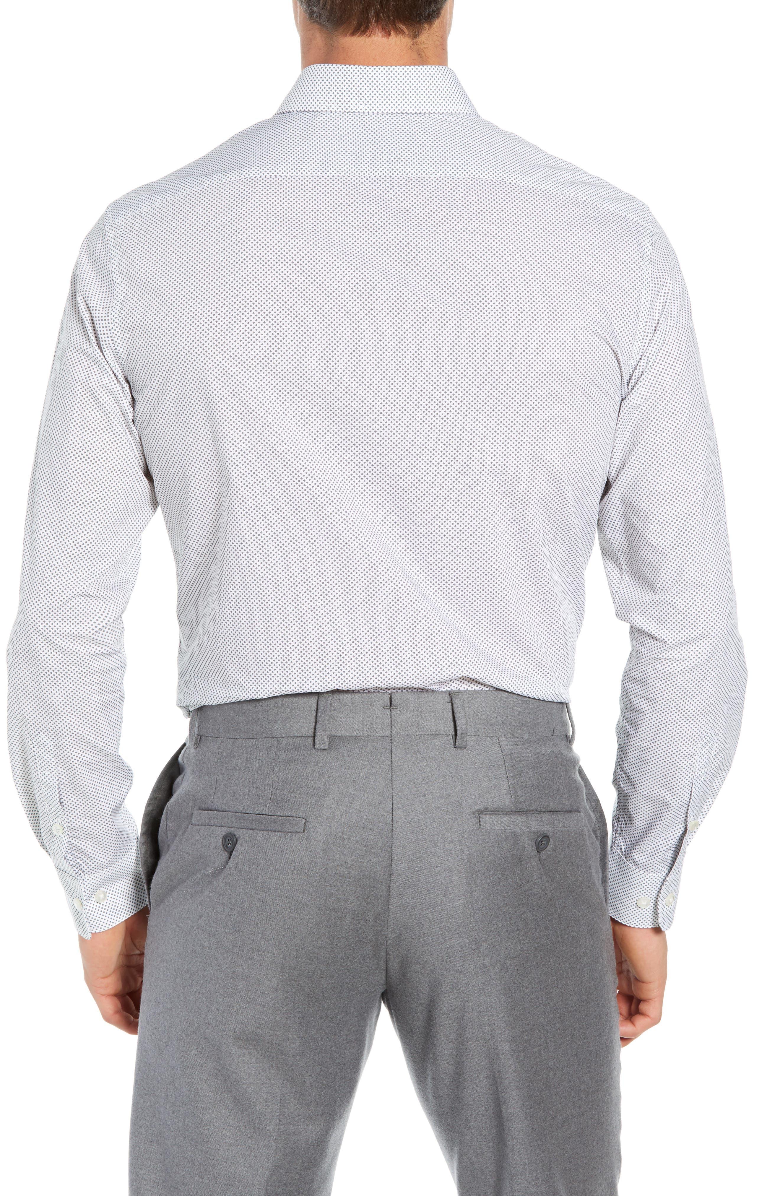 Regular Fit Geometric Dress Shirt,                             Alternate thumbnail 3, color,                             THUNDER GREY