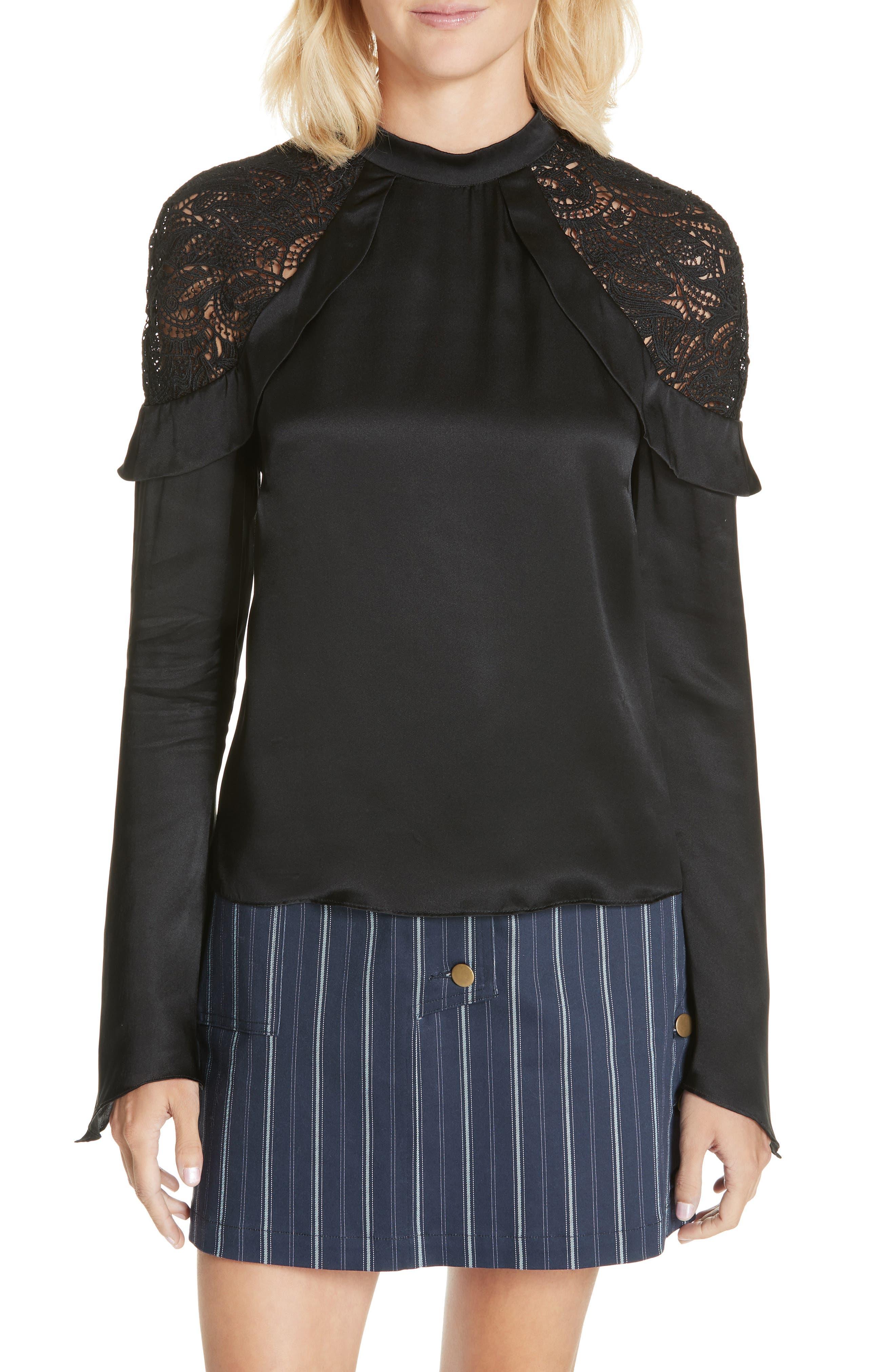 AMUR Ella Silk-Blend Top in Black