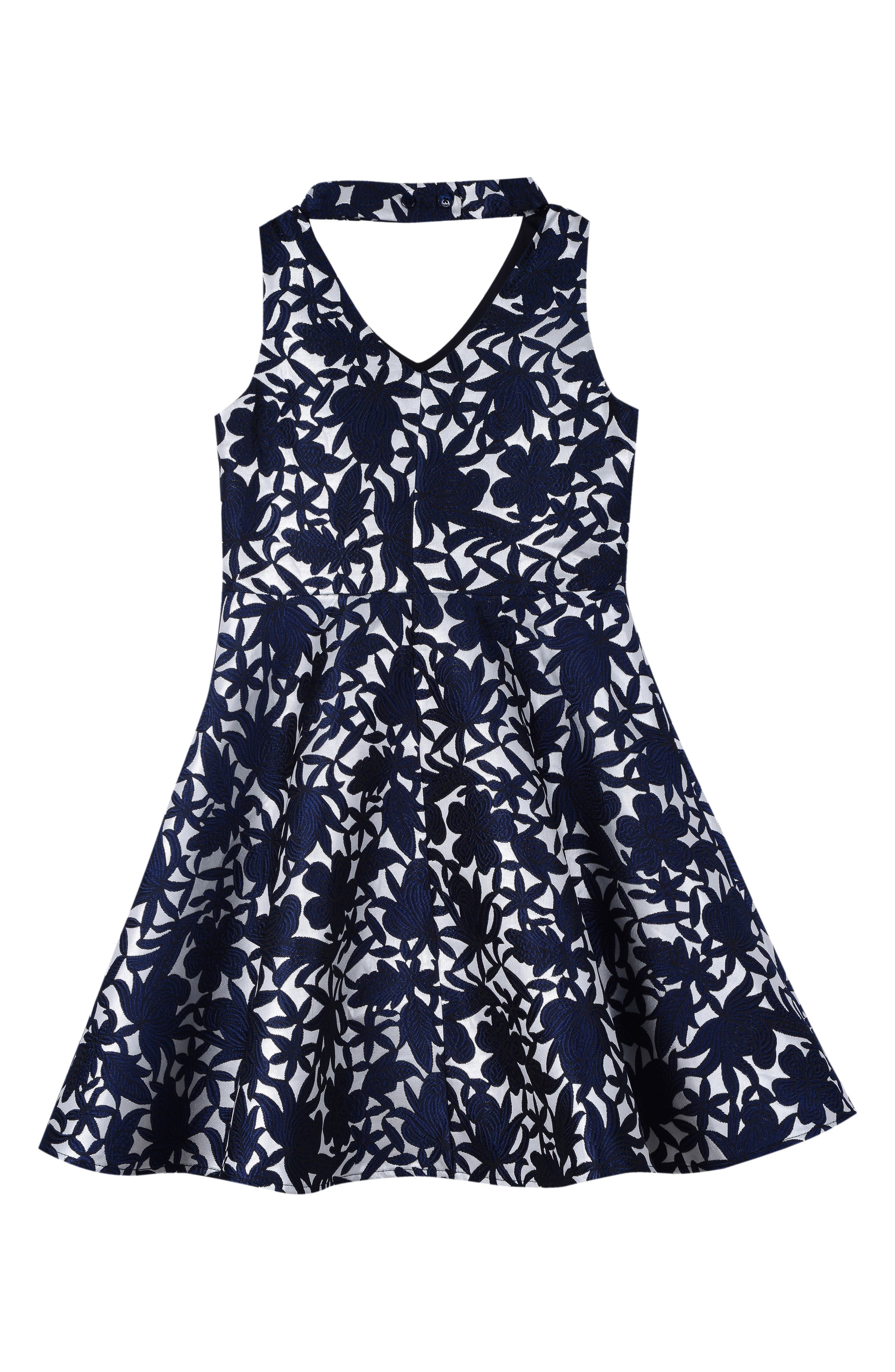 Floral Skater Dress,                             Alternate thumbnail 2, color,                             417