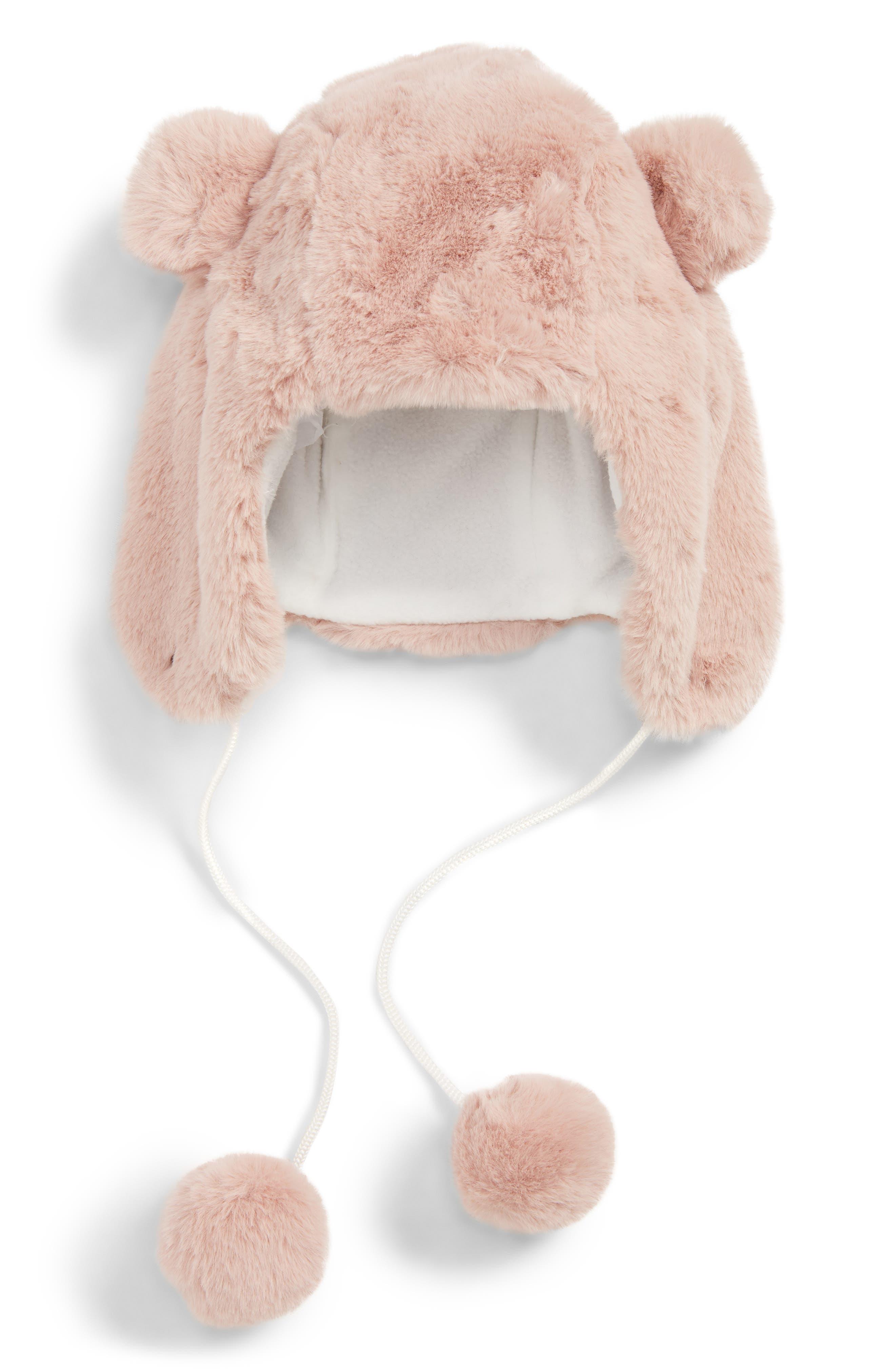 Faux Fur Bear Trapper Hat, Main, color, PINK ASH