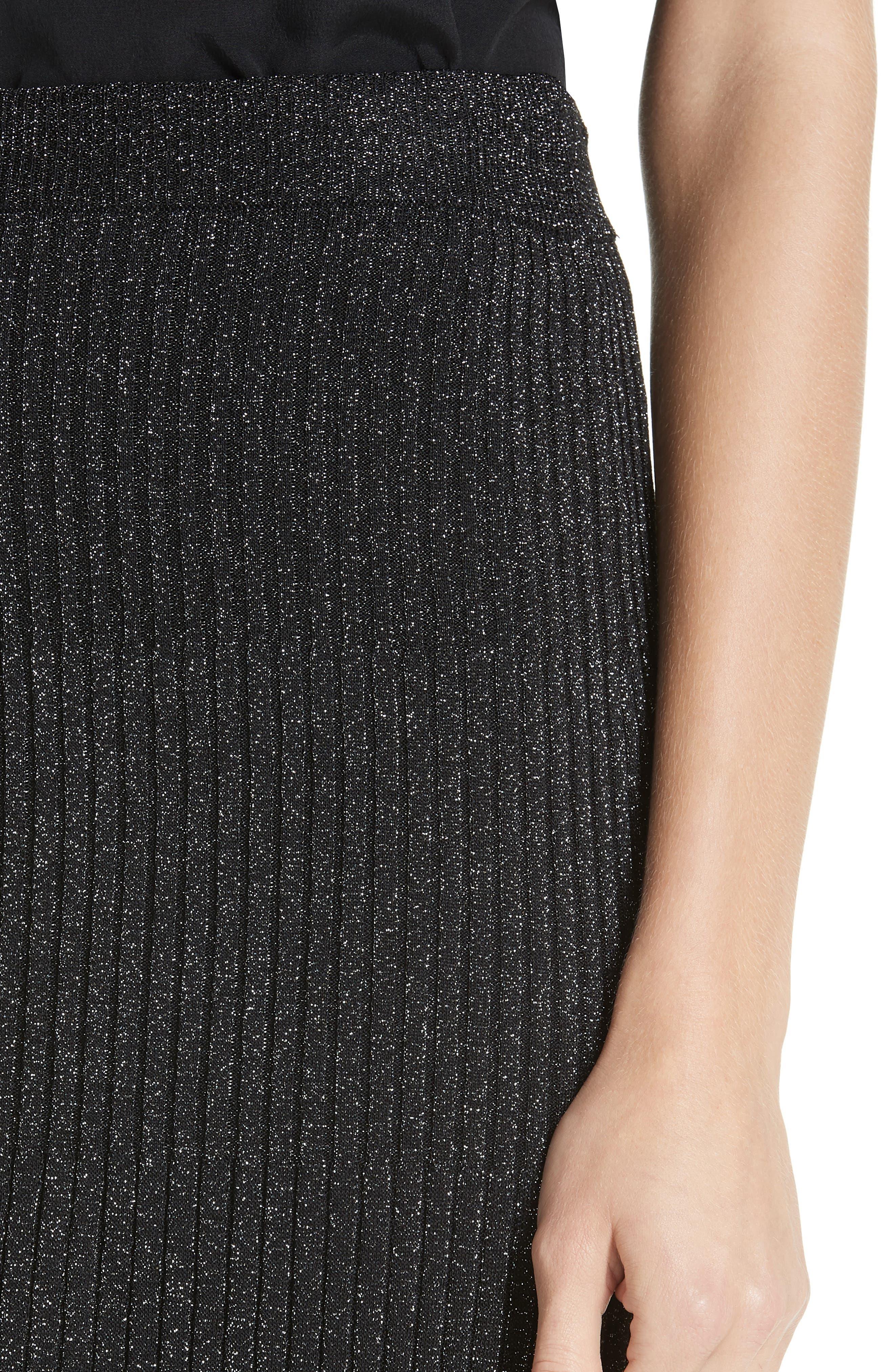 Othello Metallic Ribbed Skirt,                             Alternate thumbnail 4, color,                             BLACK