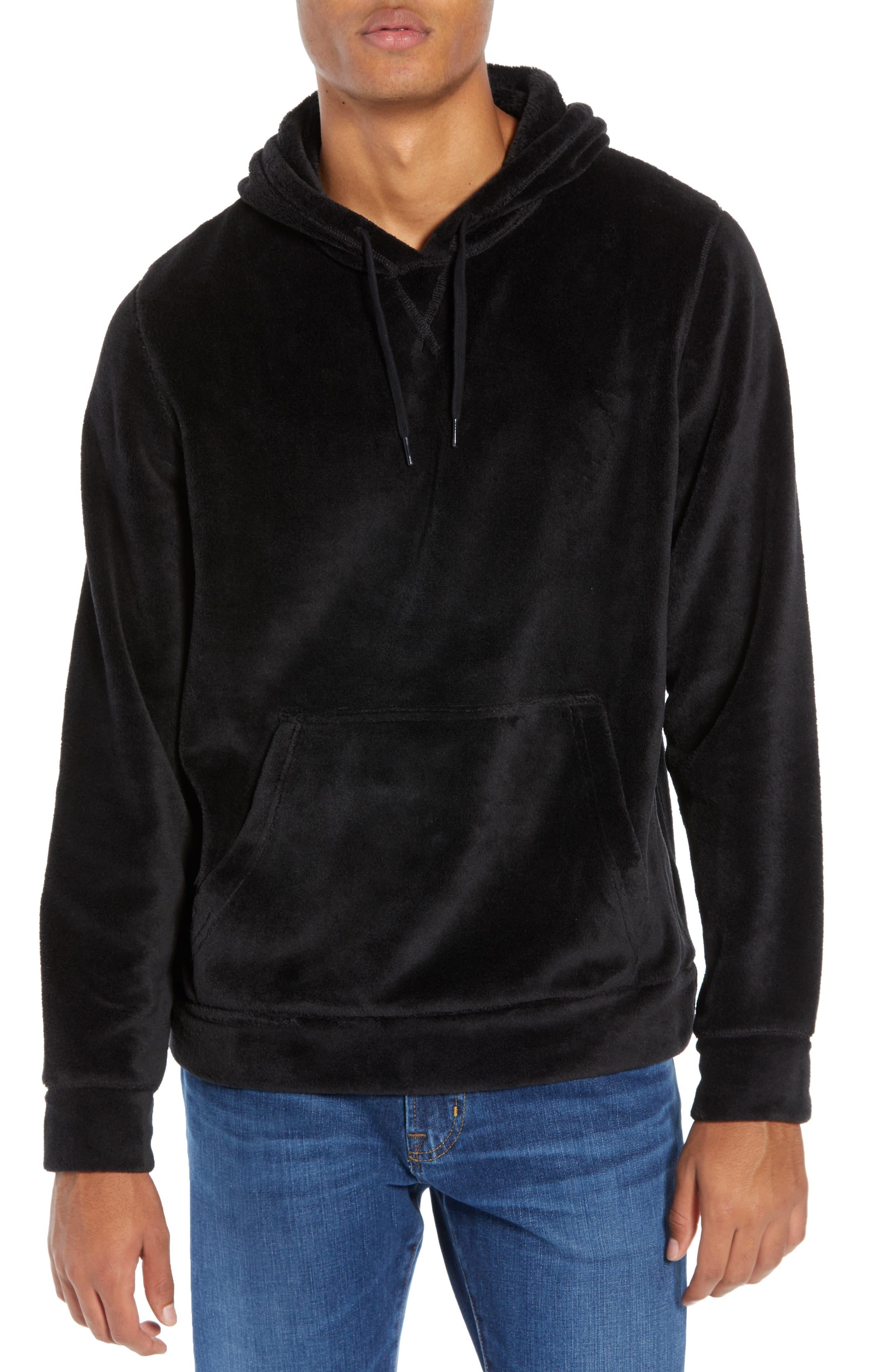 Cozy Solid Polar Fleece Hoodie,                         Main,                         color, BLACK CAVIAR