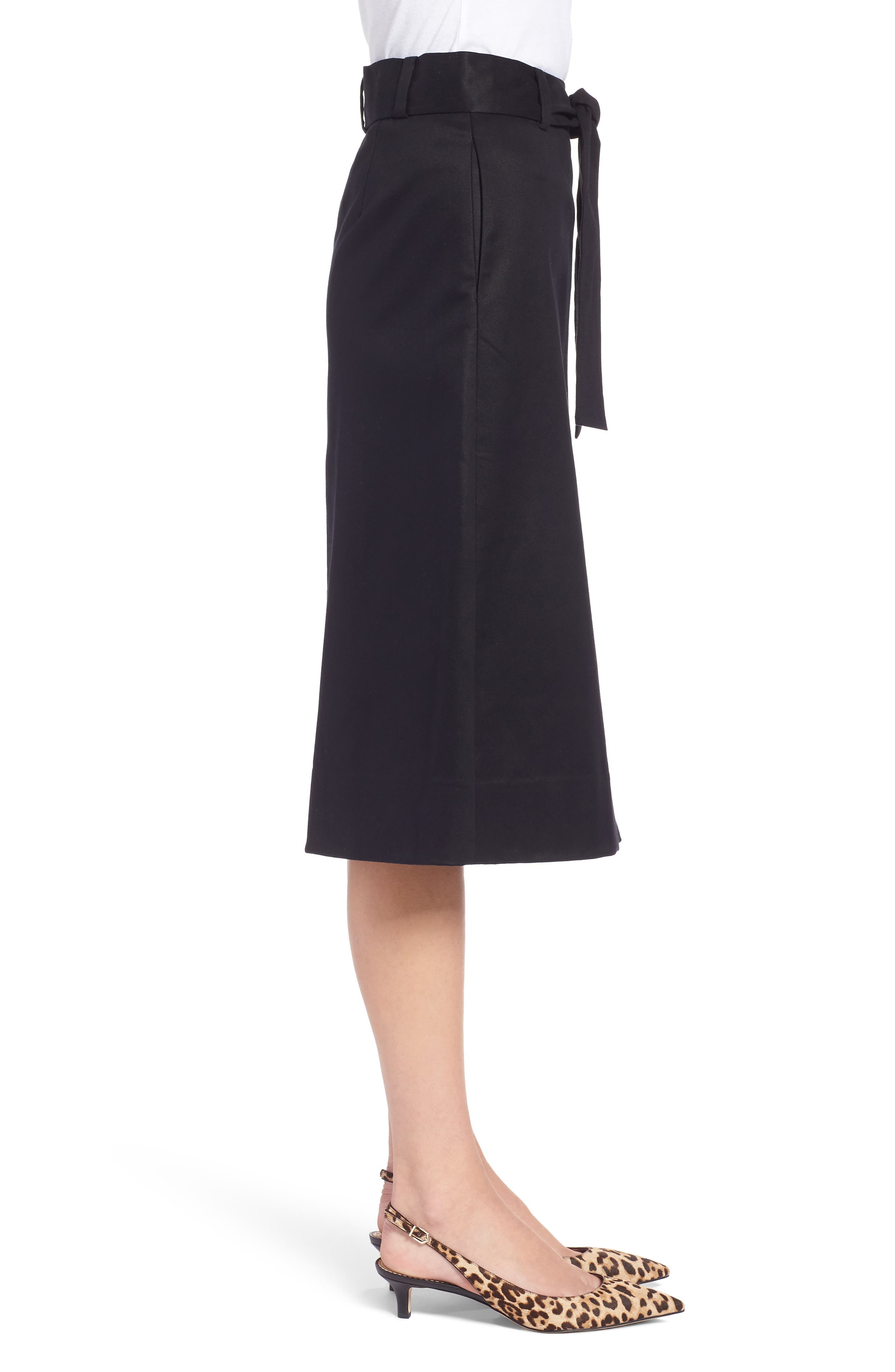 A-Line Midi Skirt,                             Alternate thumbnail 3, color,                             001