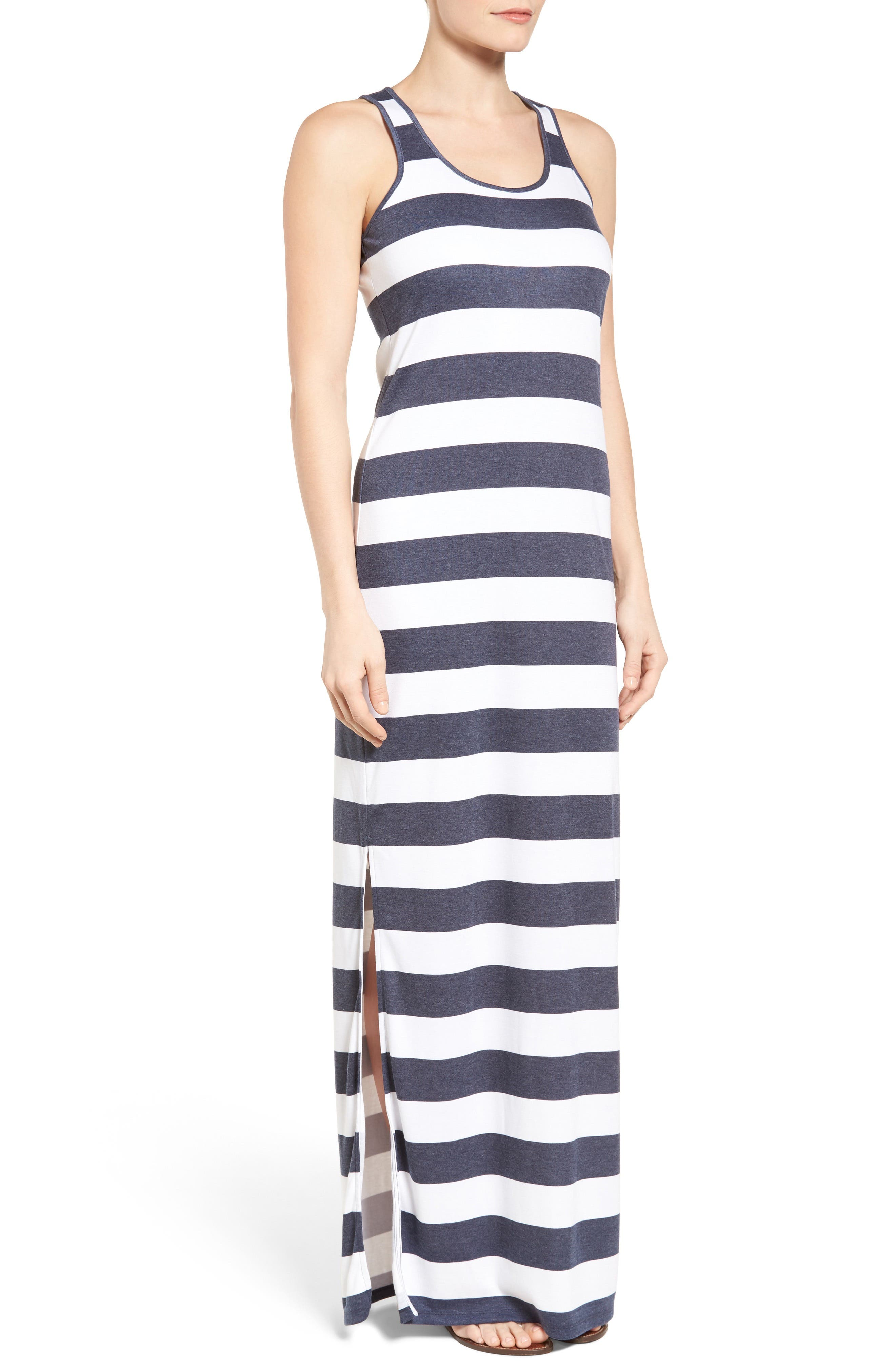 Rugby Stripe Tank Maxi Dress,                             Alternate thumbnail 3, color,                             427