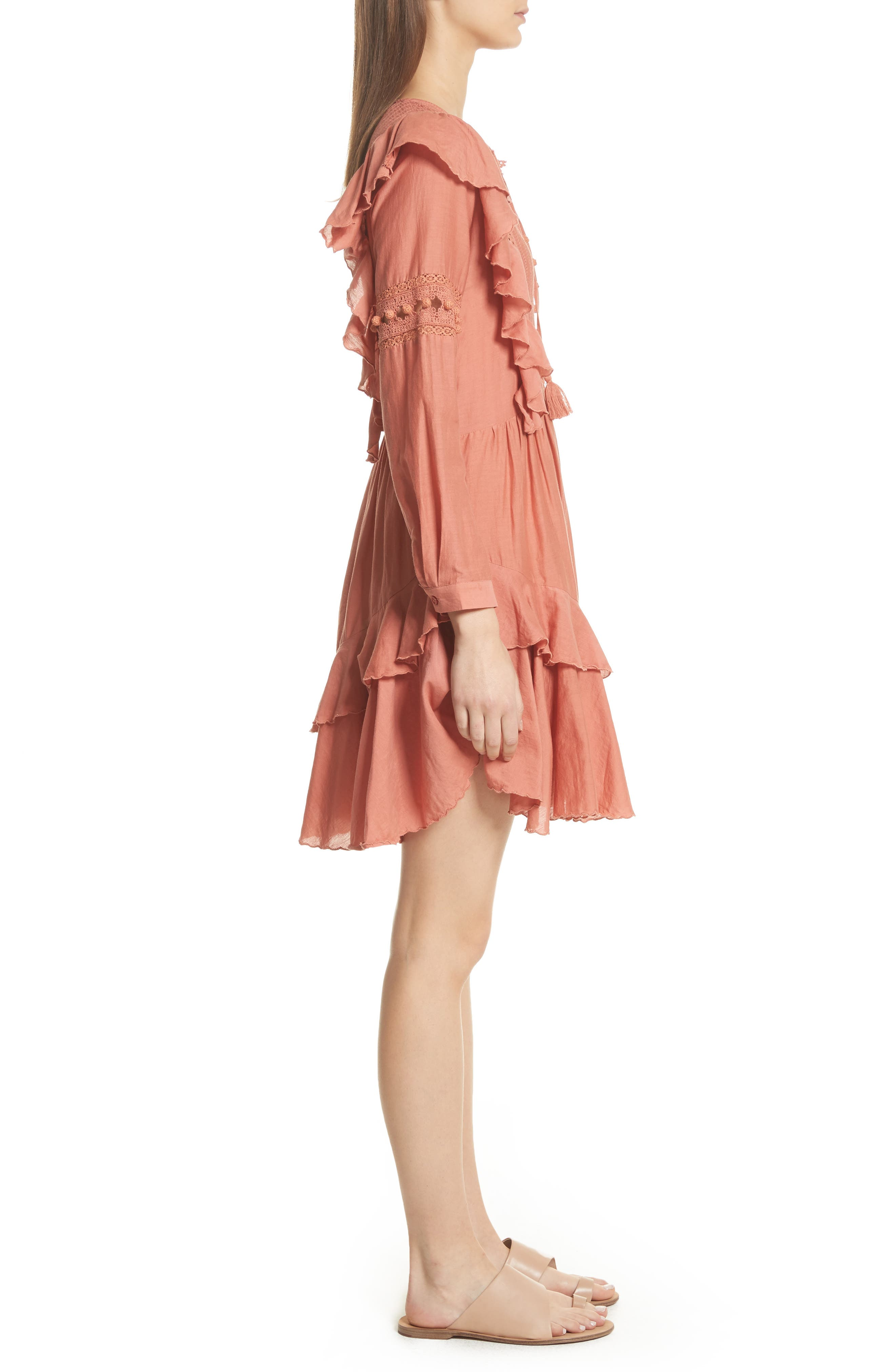 Weatherly Crochet Pompom Dress,                             Alternate thumbnail 3, color,