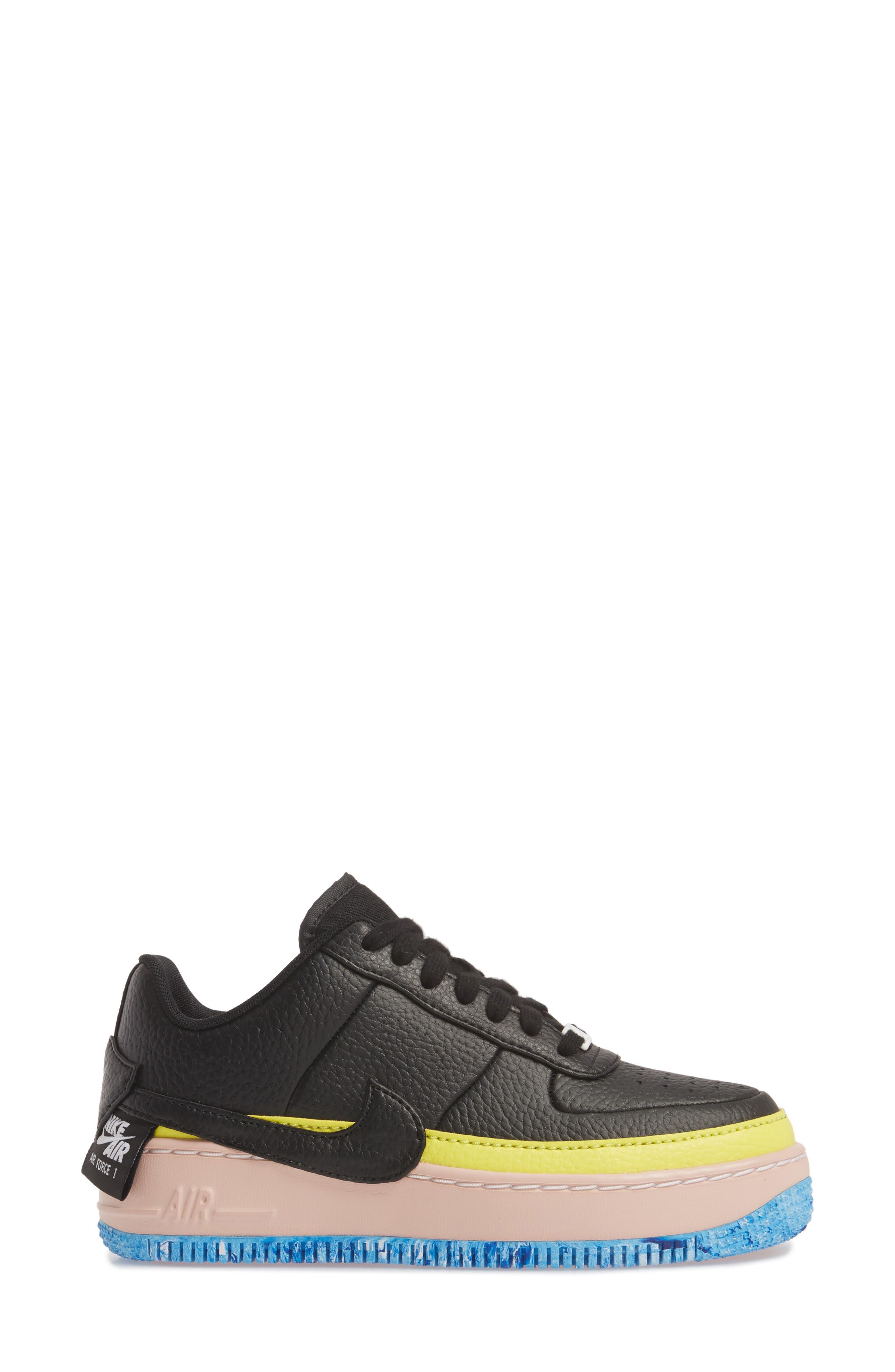 Air Force 1 Jester XX Sneaker,                             Alternate thumbnail 3, color,                             BLACK/ SONIC YELLOW/ ORANGE