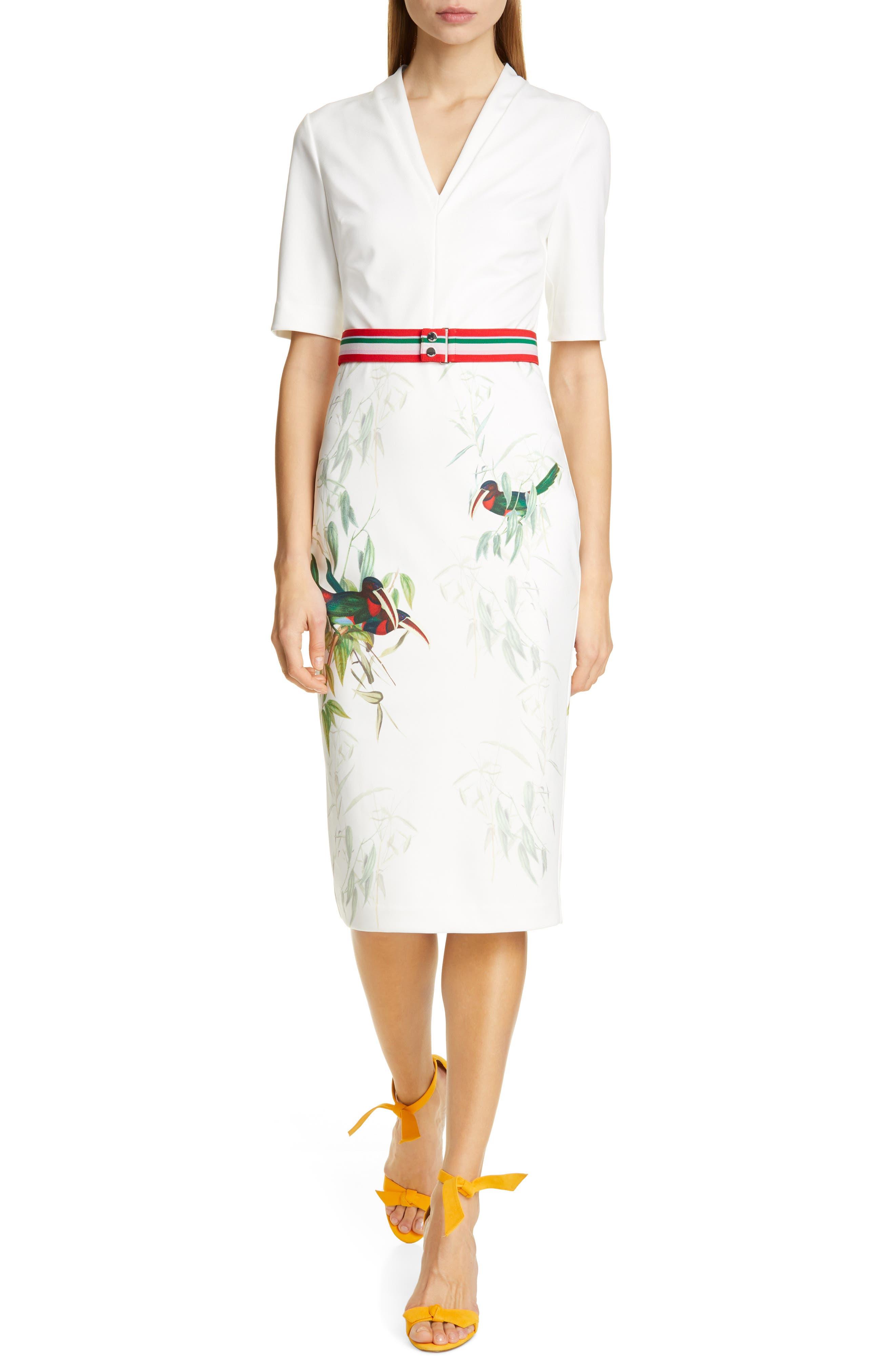 Ted Baker London Molilo Tutti Frutti Sheath Dress, White