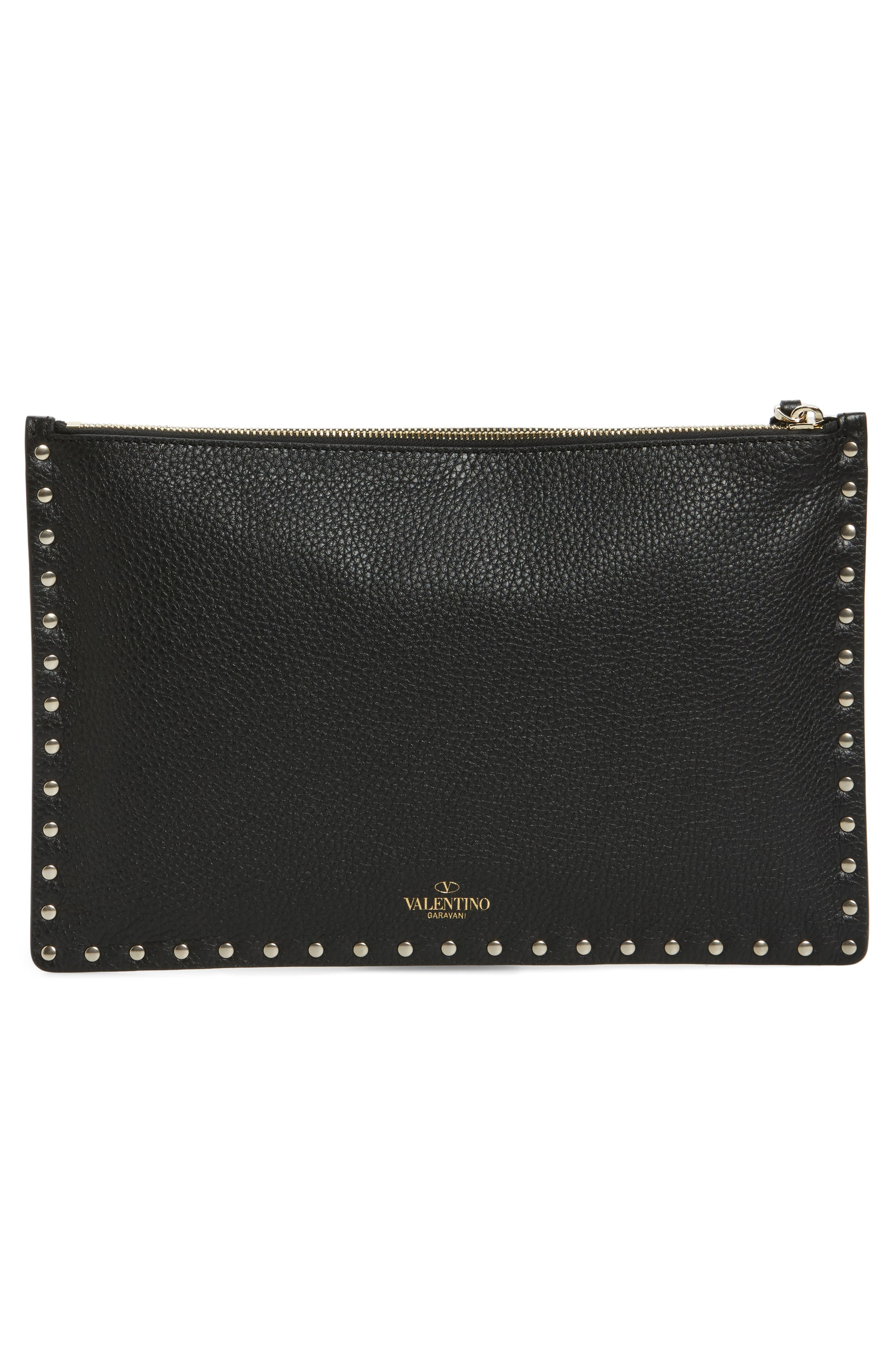 Large Rockstud Flat Leather Zip Pouch,                             Alternate thumbnail 3, color,