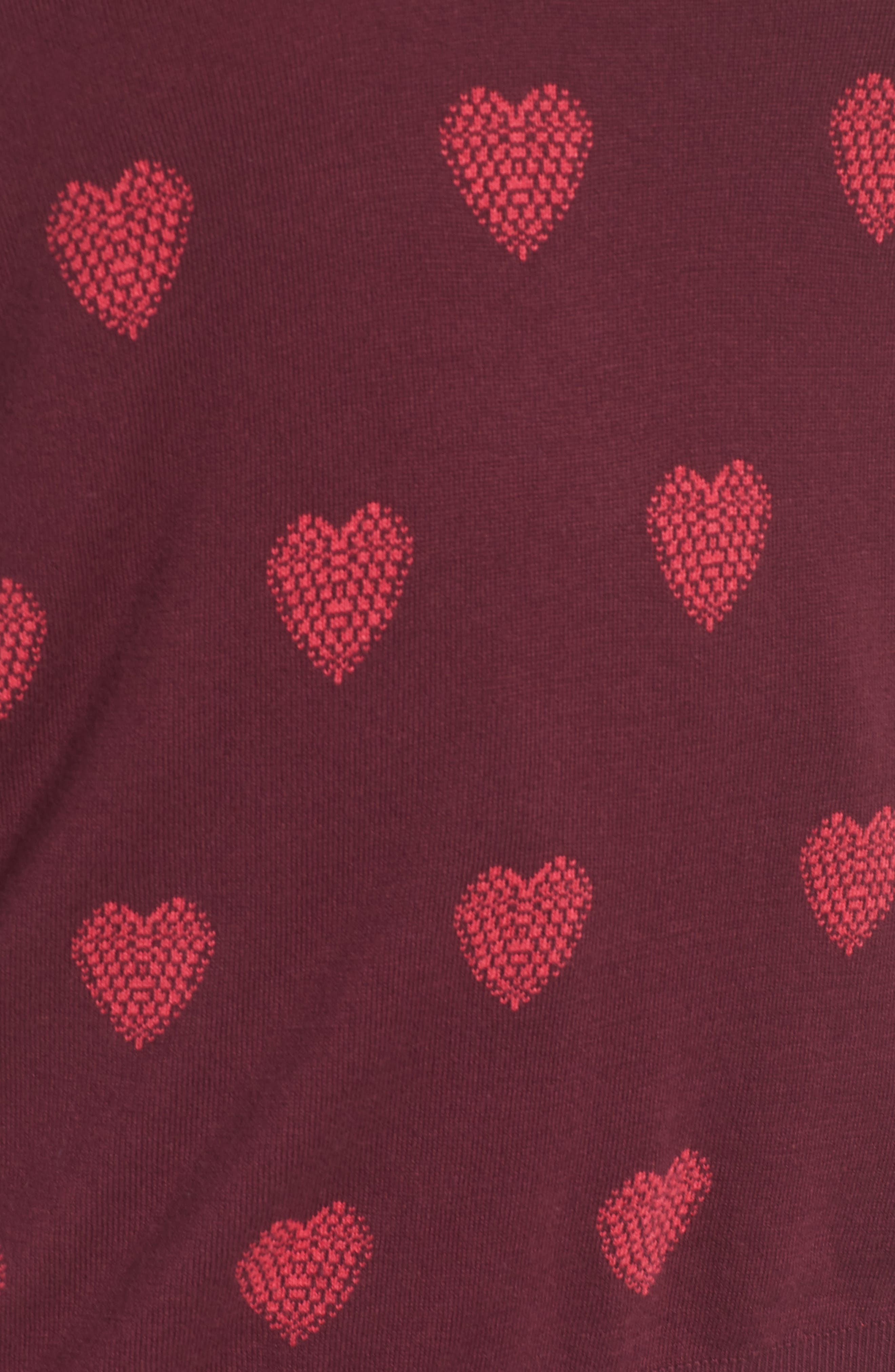 Heart Pattern Cotton Blend Sweater,                             Alternate thumbnail 5, color,                             BURGUNDY- PINK HEART KNIT