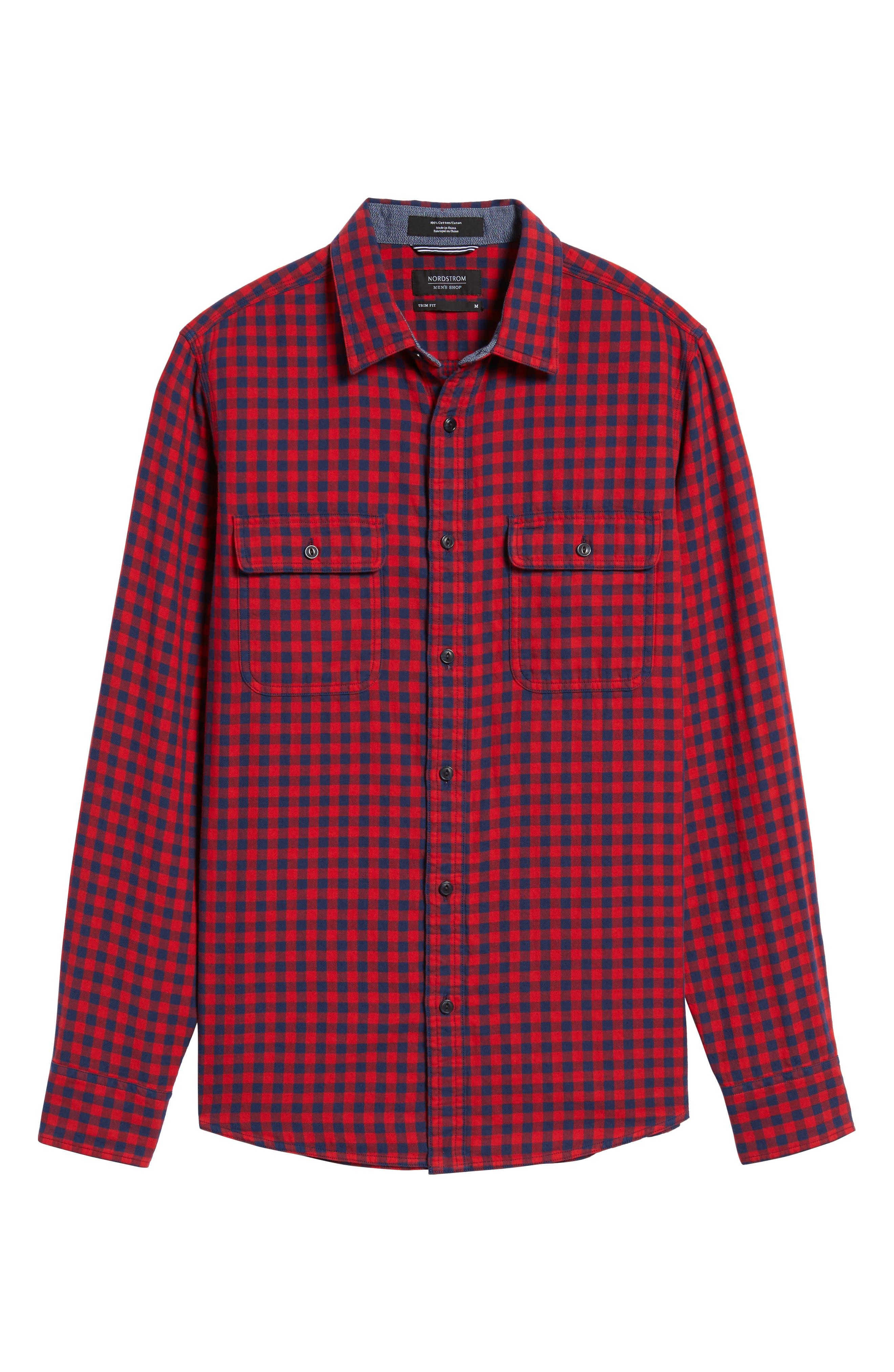Buffalo Check Trim Fit Sport Shirt,                             Alternate thumbnail 6, color,                             610