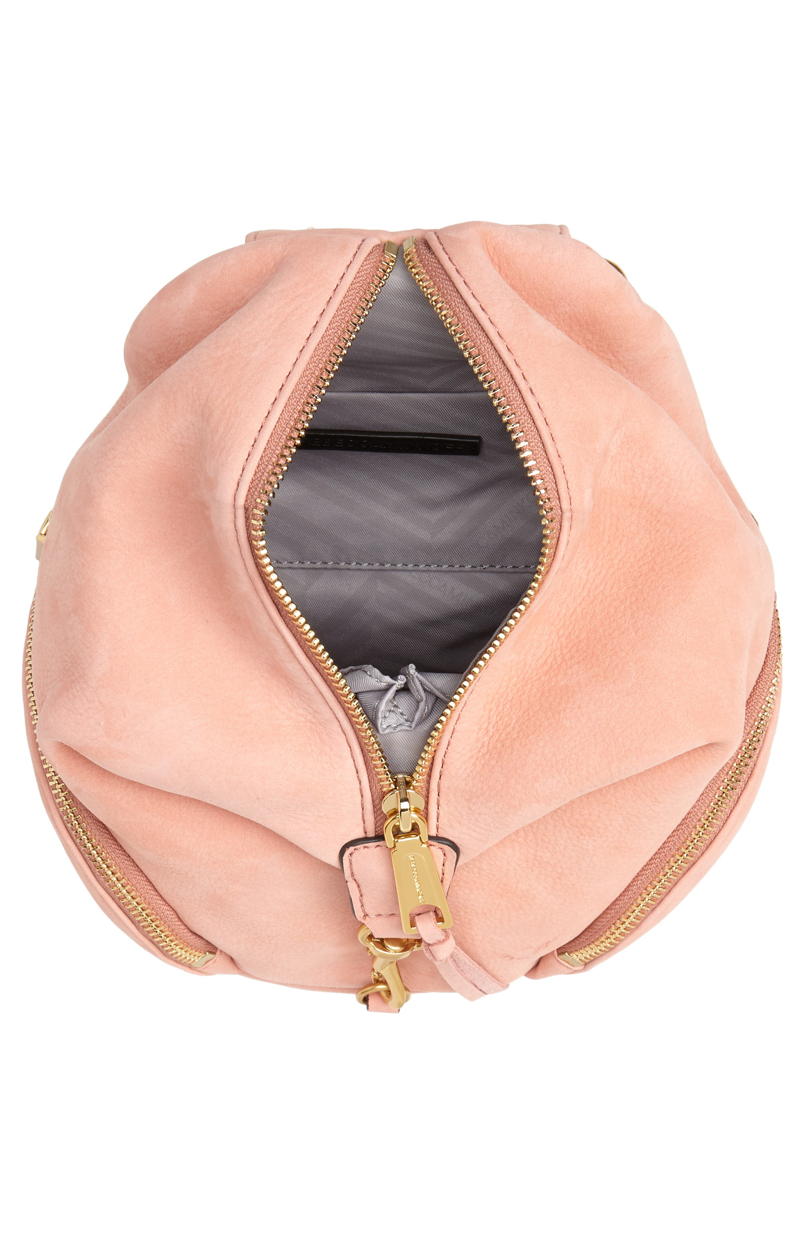 Mini Julian Nubuck Leather Convertible Backpack,                             Alternate thumbnail 4, color,                             DUSTY PEACH