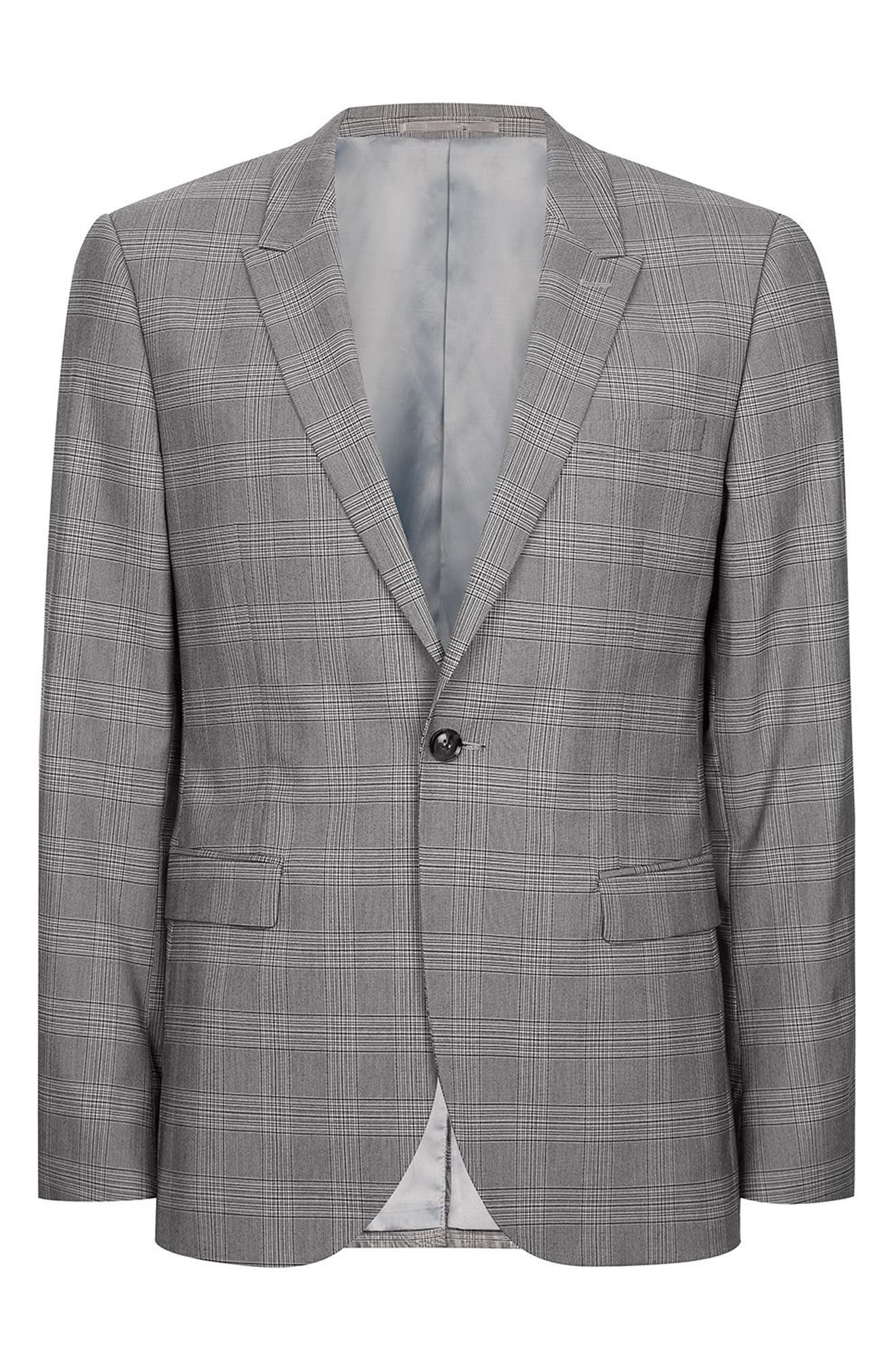 Skinny Fit Check Suit Jacket,                             Alternate thumbnail 4, color,                             001