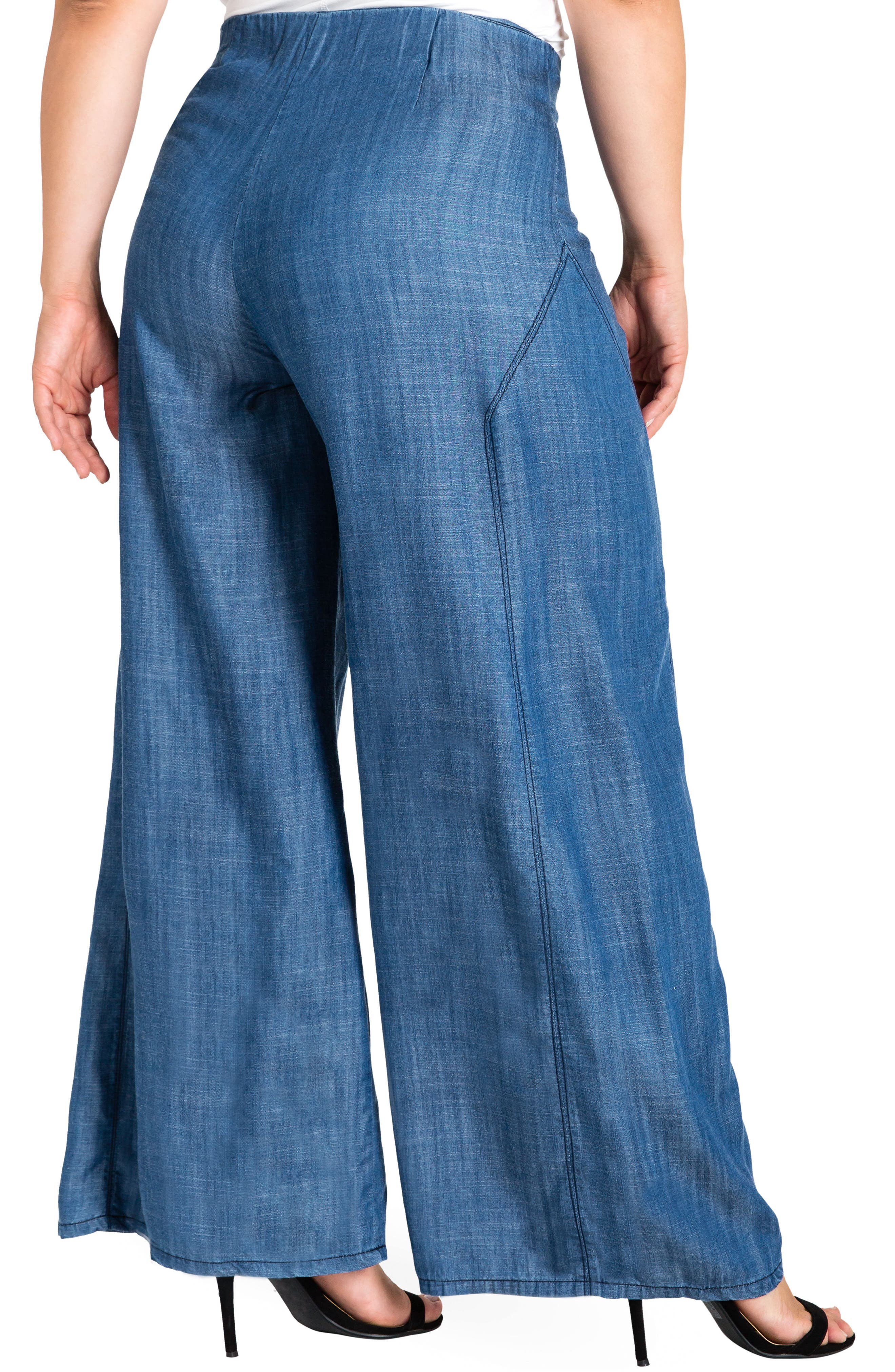 STANDARDS & PRACTICES,                             Perry Tencel<sup>®</sup> Denim Palazzo Pants,                             Alternate thumbnail 2, color,                             ALMOST RINSED
