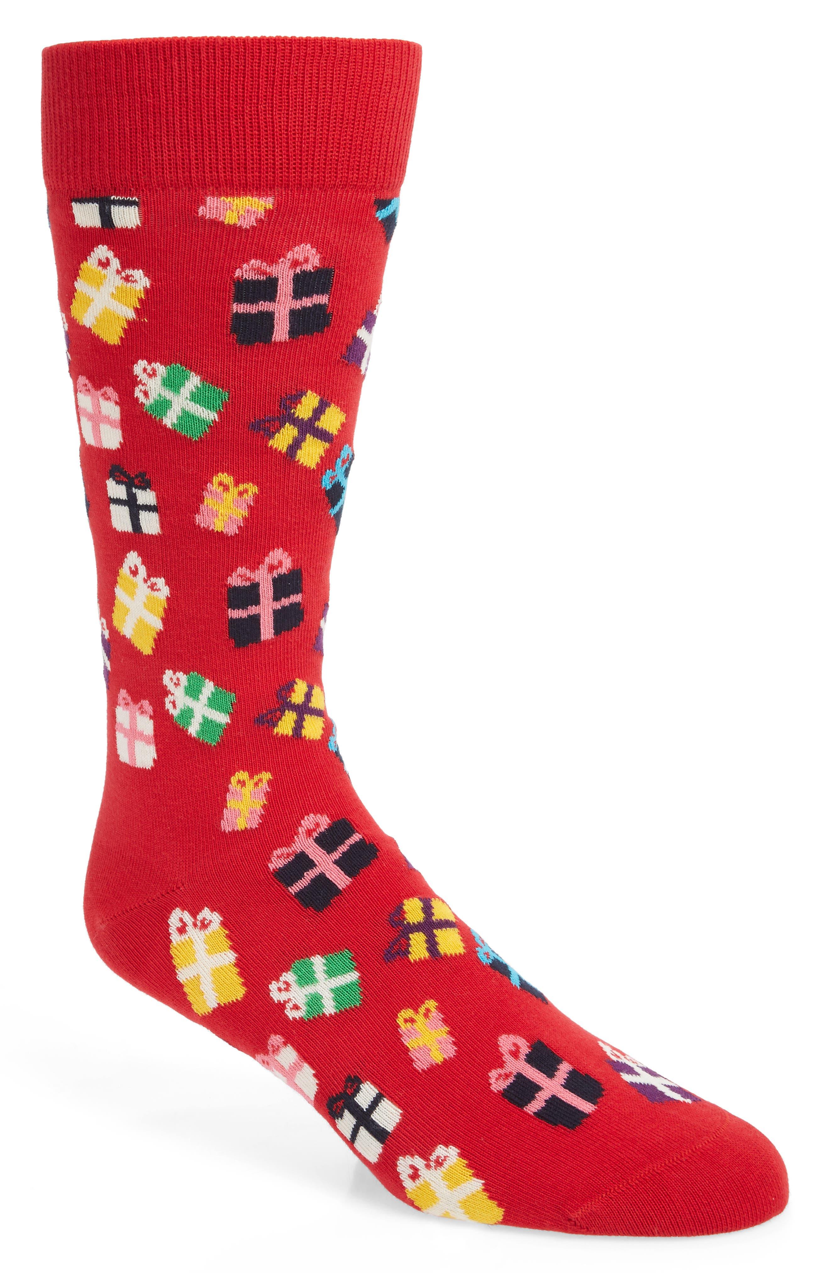 HAPPY SOCKS Gift Pattern Socks in Red
