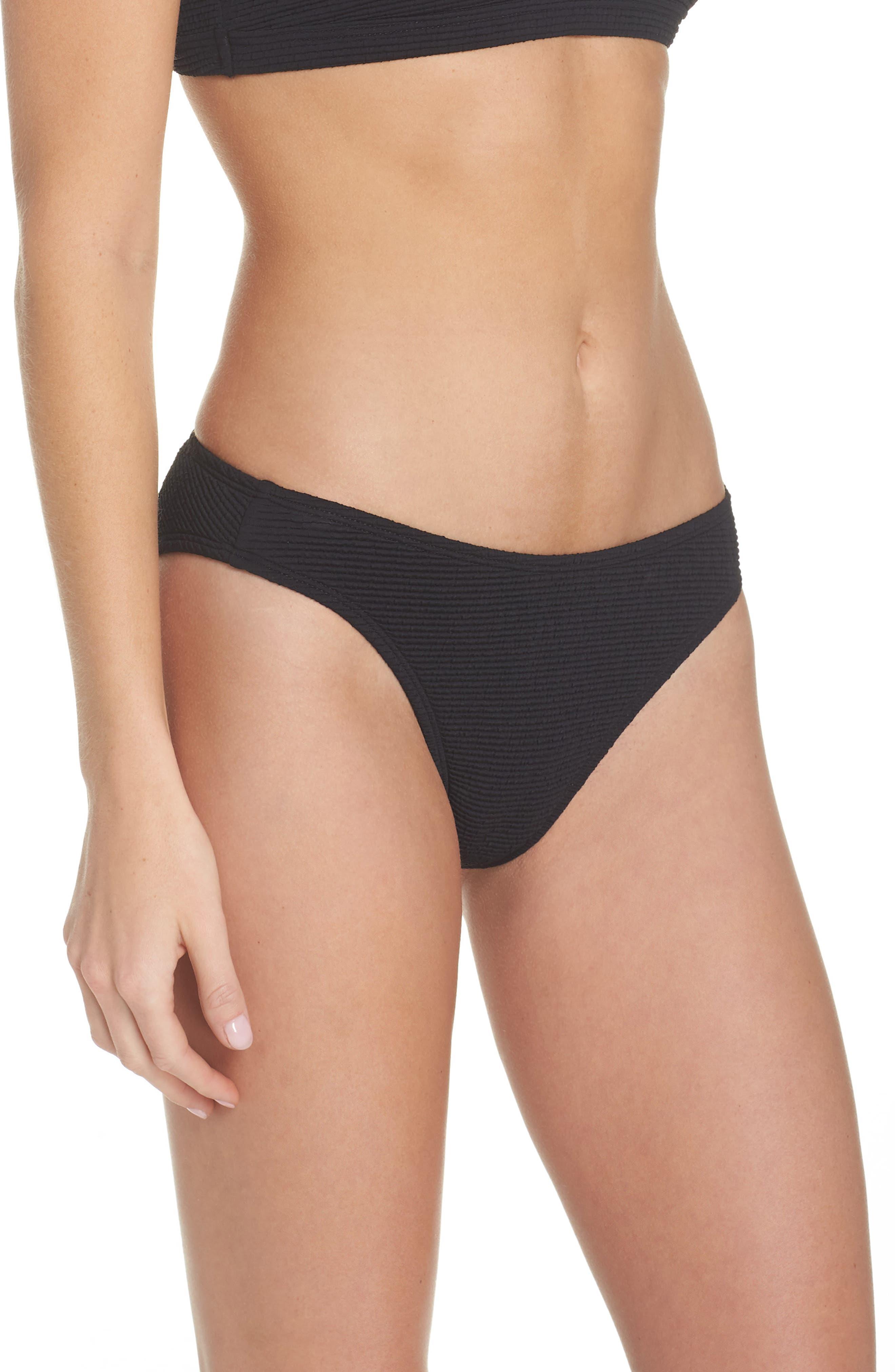 Malibu High Leg Bikini Bottoms,                             Alternate thumbnail 3, color,                             BLACK