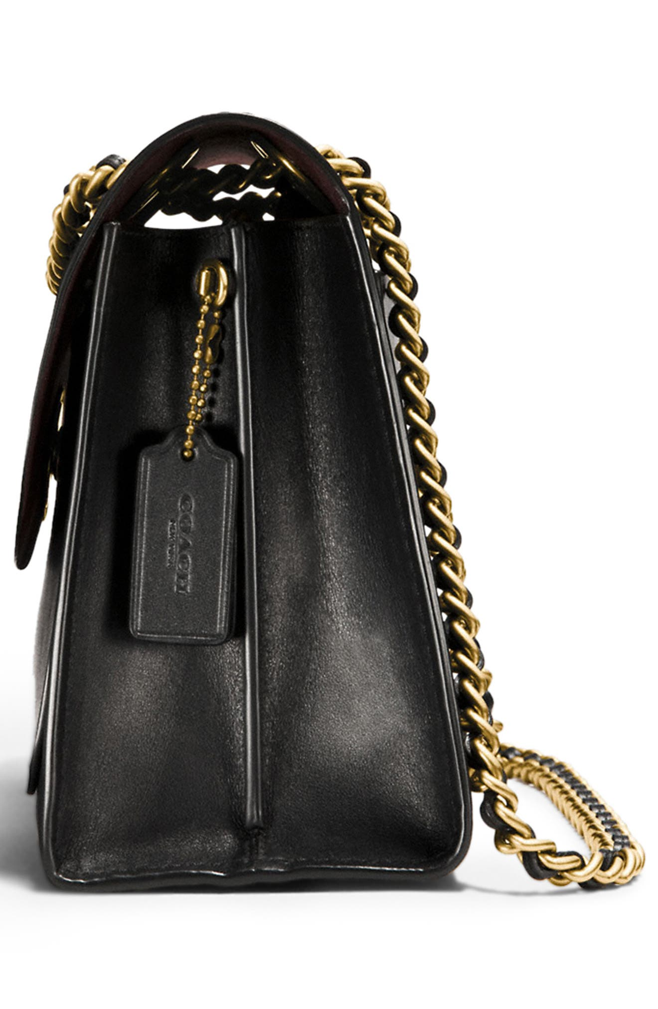 COACH,                             Parker Leather Shoulder Bag,                             Alternate thumbnail 5, color,                             001