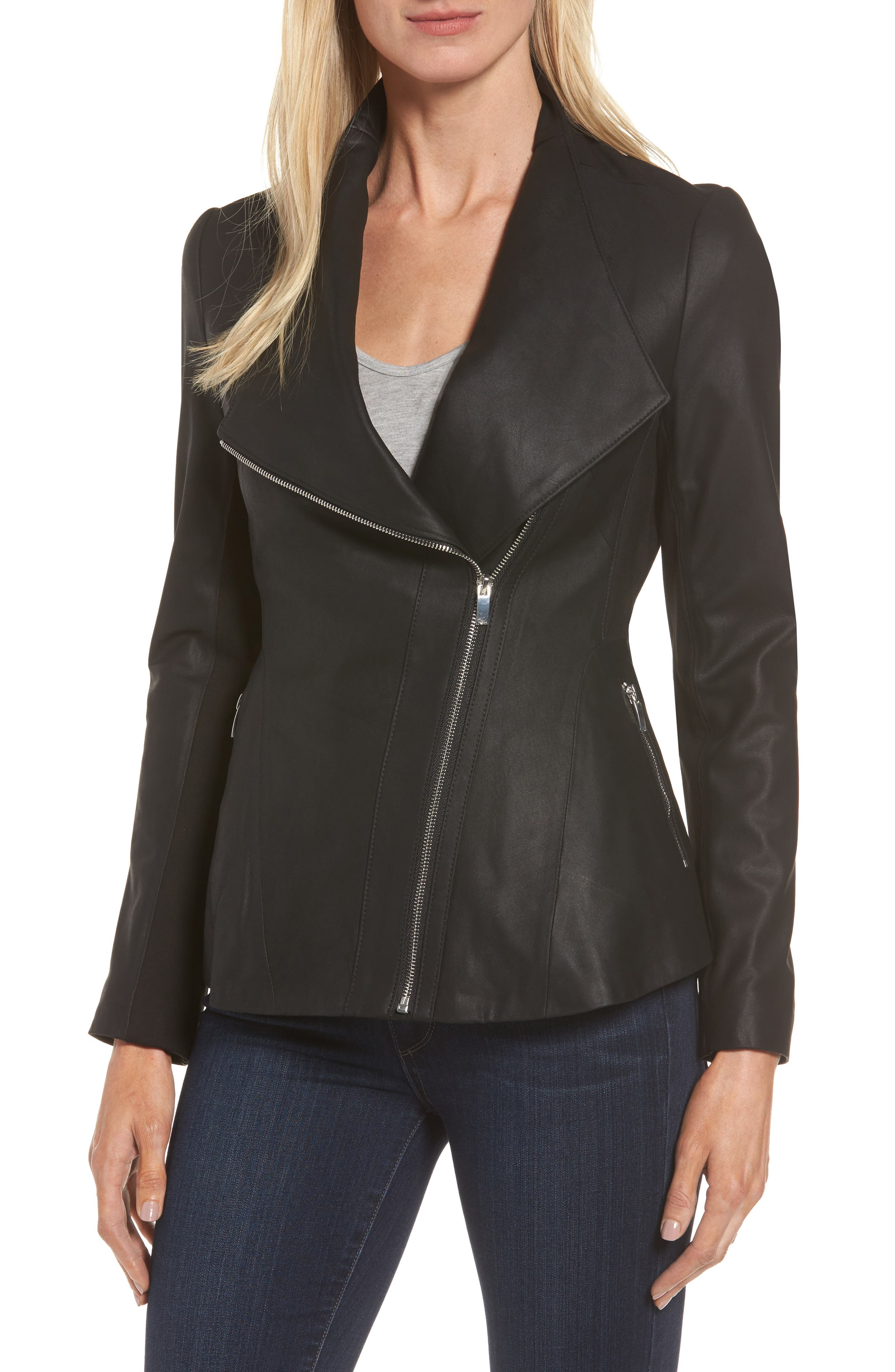 Asymmetrical Zip Leather & Ponte Jacket,                         Main,                         color, 001