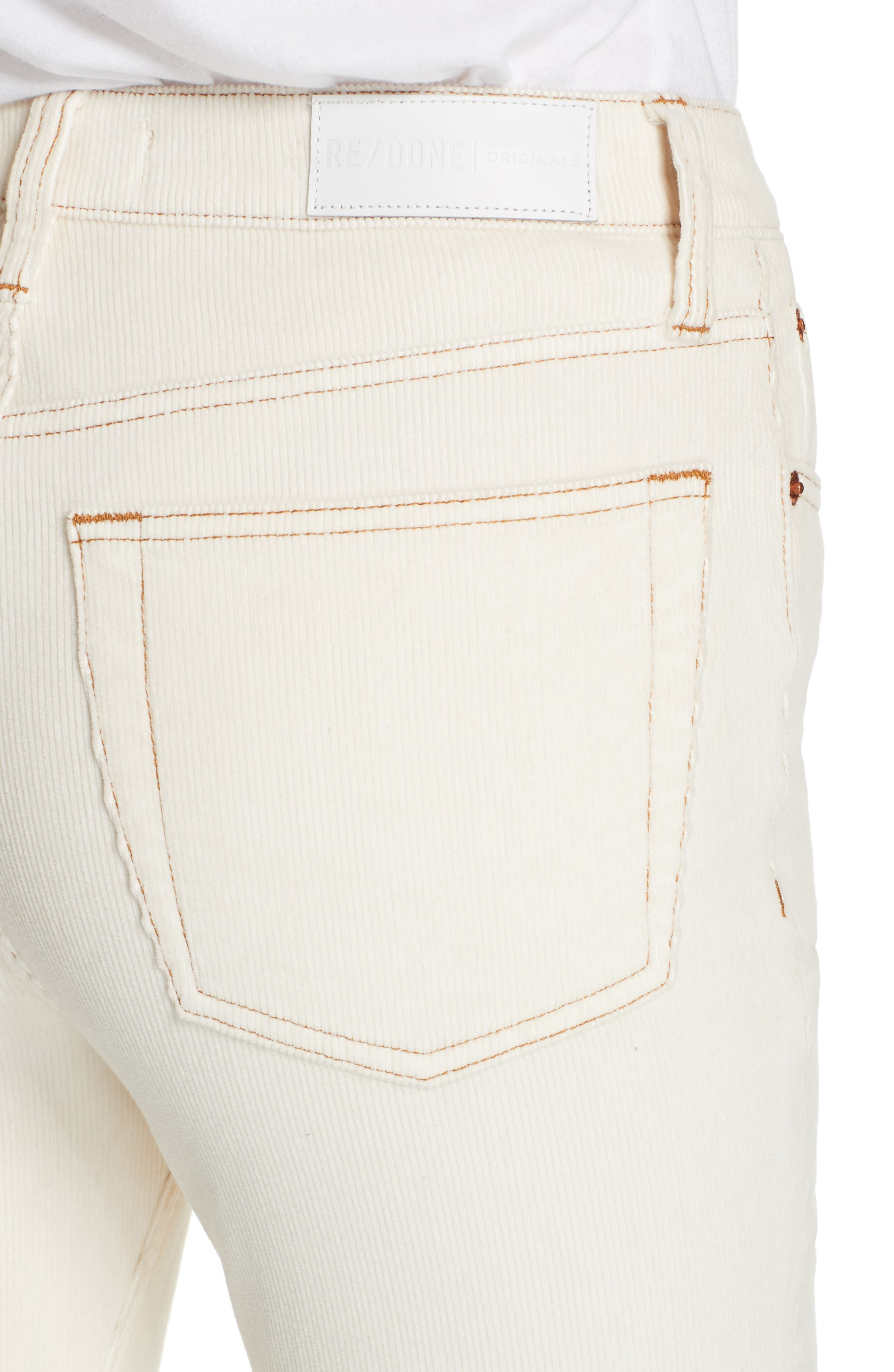 High Waist Crop Skinny Corduroy Jeans,                             Alternate thumbnail 4, color,                             WINTER WHITE