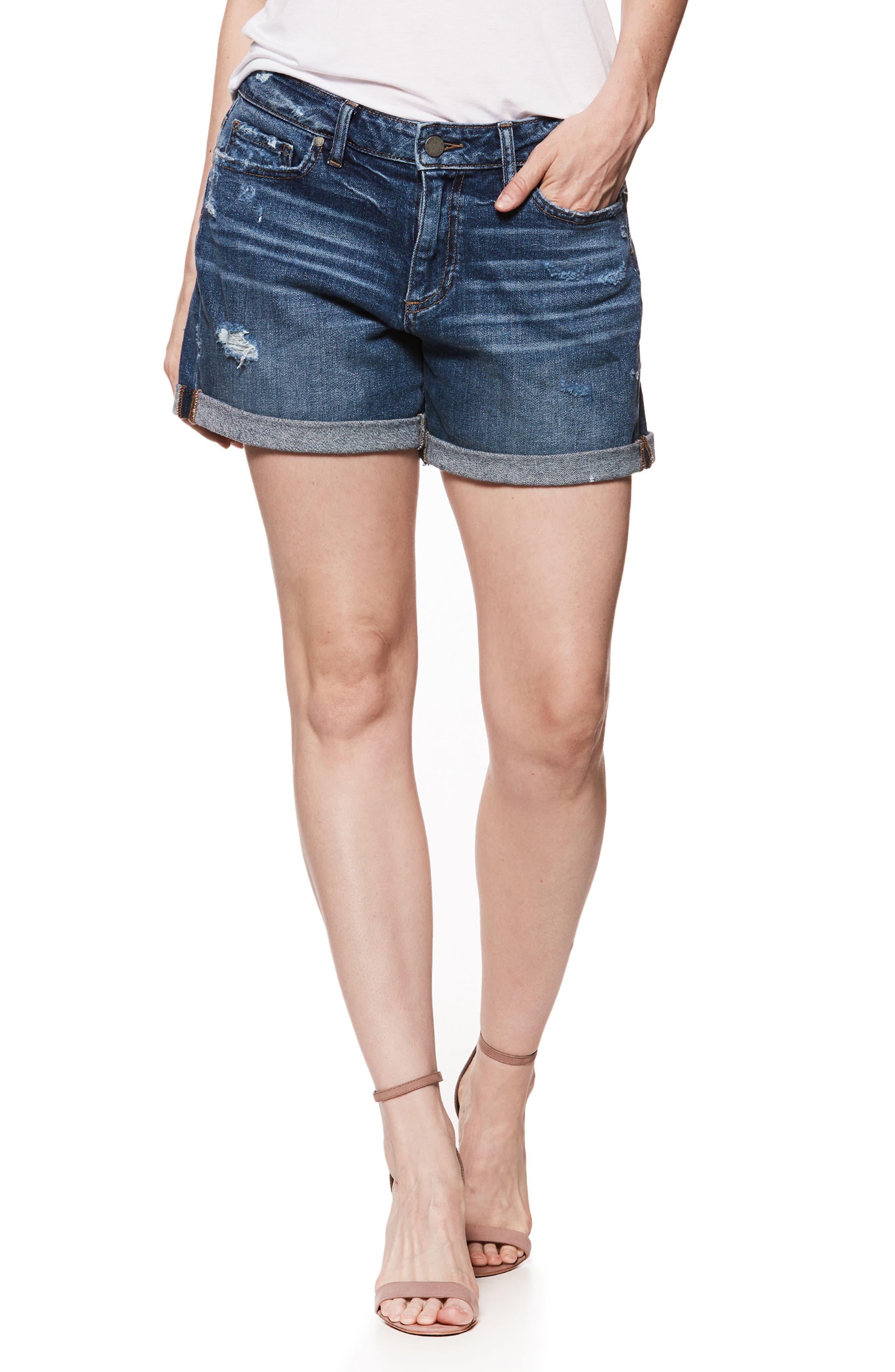 Parker Denim Boyfriend Shorts,                         Main,                         color, CLIFFS EDGE DESTRUCTED