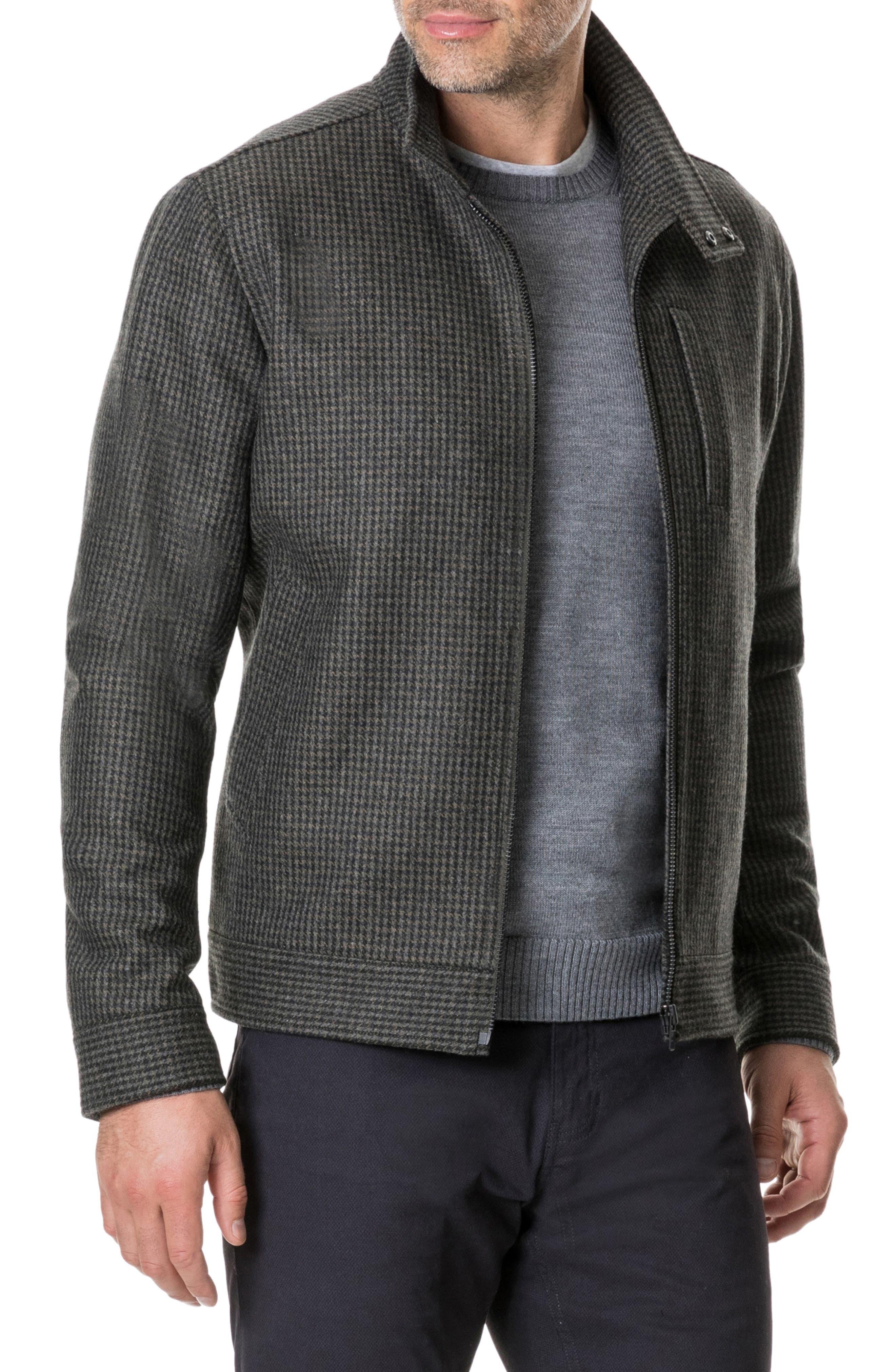 Oyster Cove Regular Fit Wool Blend Jacket,                             Alternate thumbnail 3, color,                             OLIVE