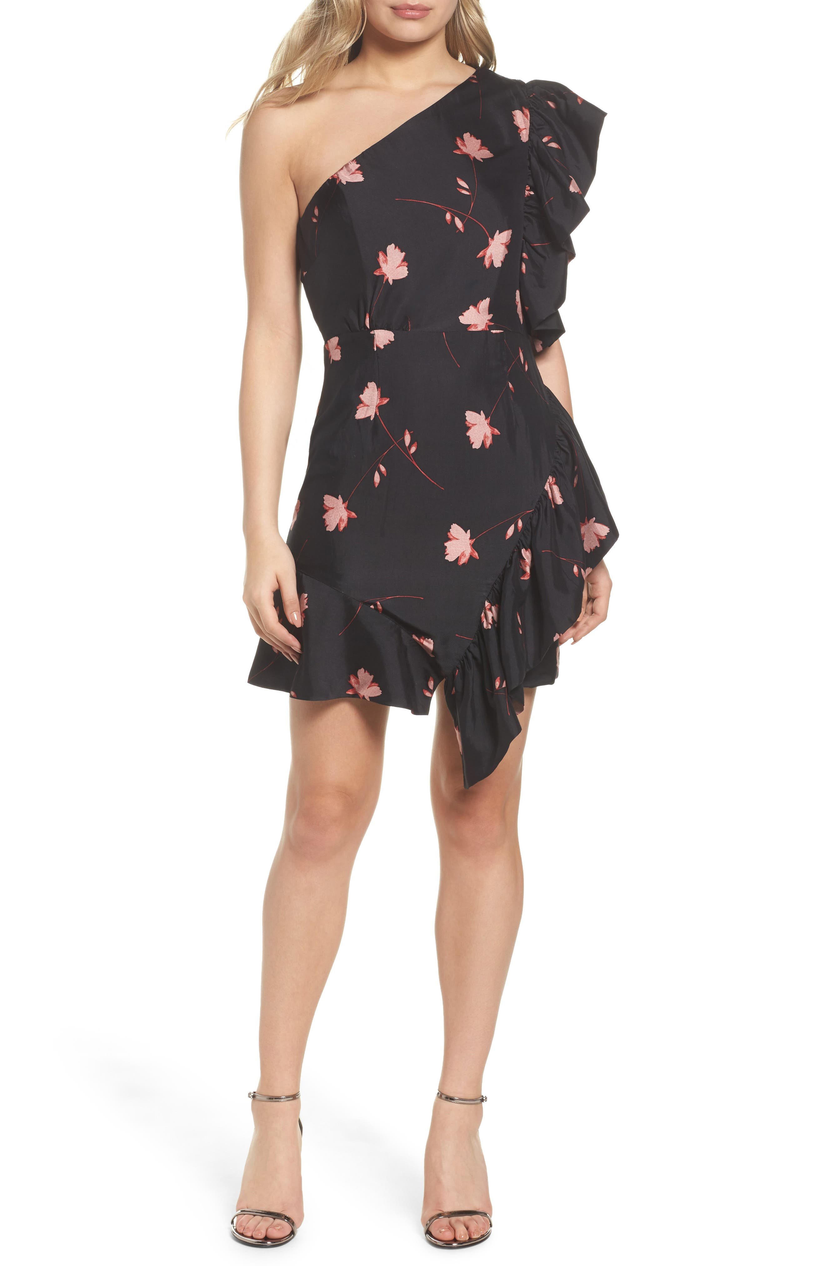 Lucia Frill One-Shoulder Dress,                         Main,                         color, 017