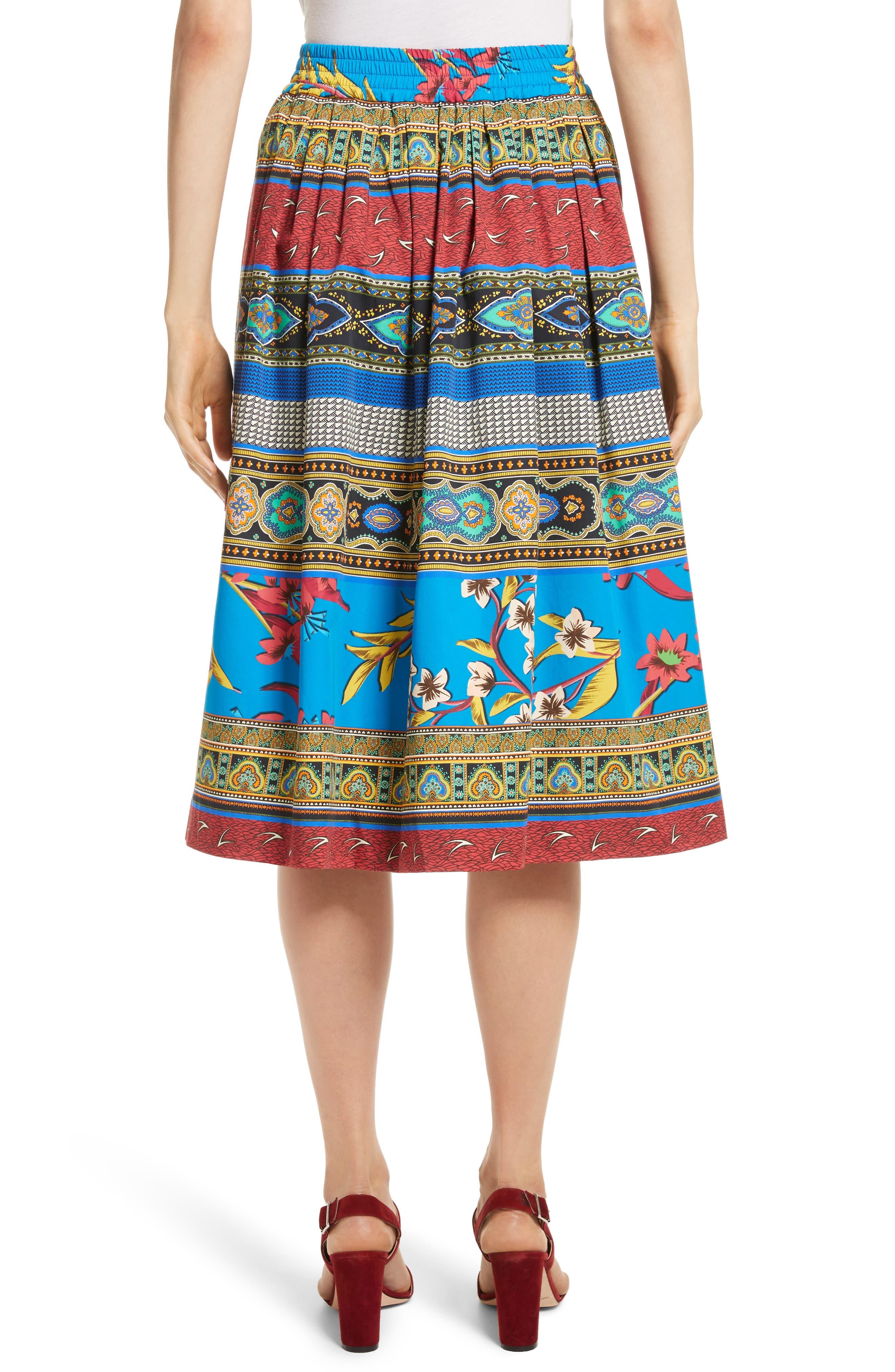 Floral Geo Print Cotton Skirt,                             Alternate thumbnail 2, color,                             410