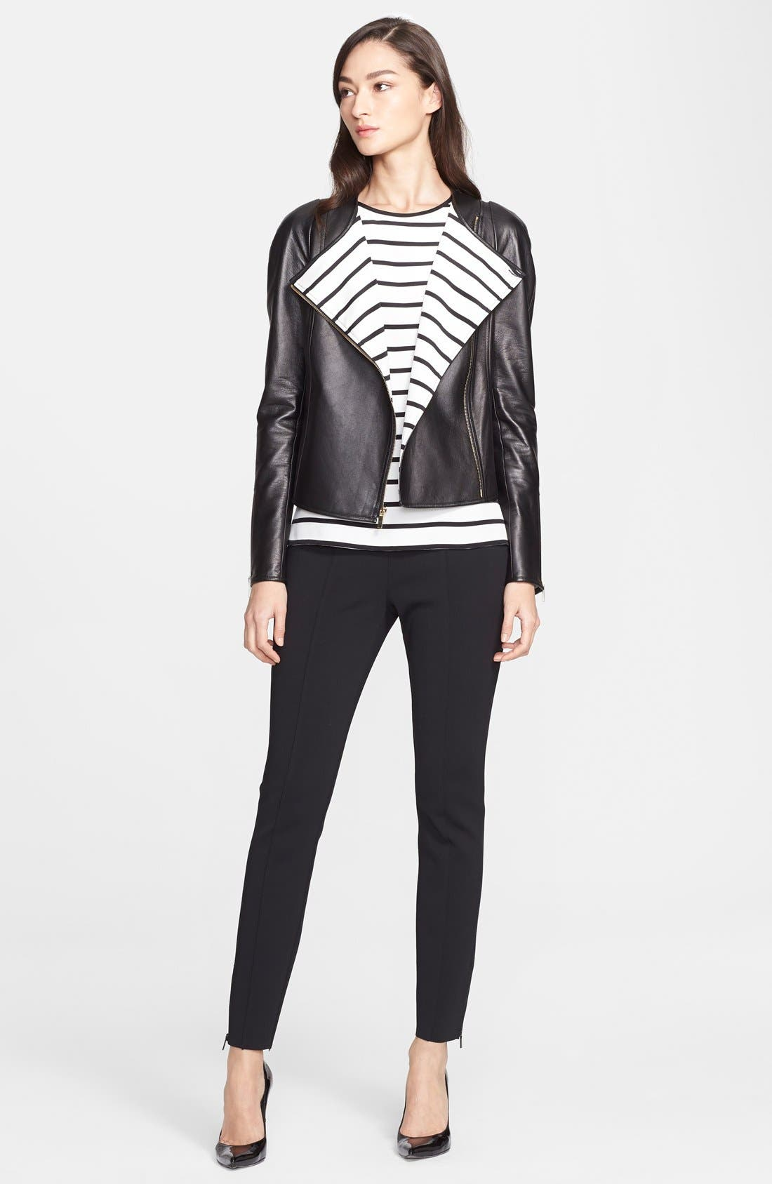 ST. JOHN COLLECTION,                             Nappa Leather Jacket with Stripe Lining,                             Alternate thumbnail 2, color,                             001