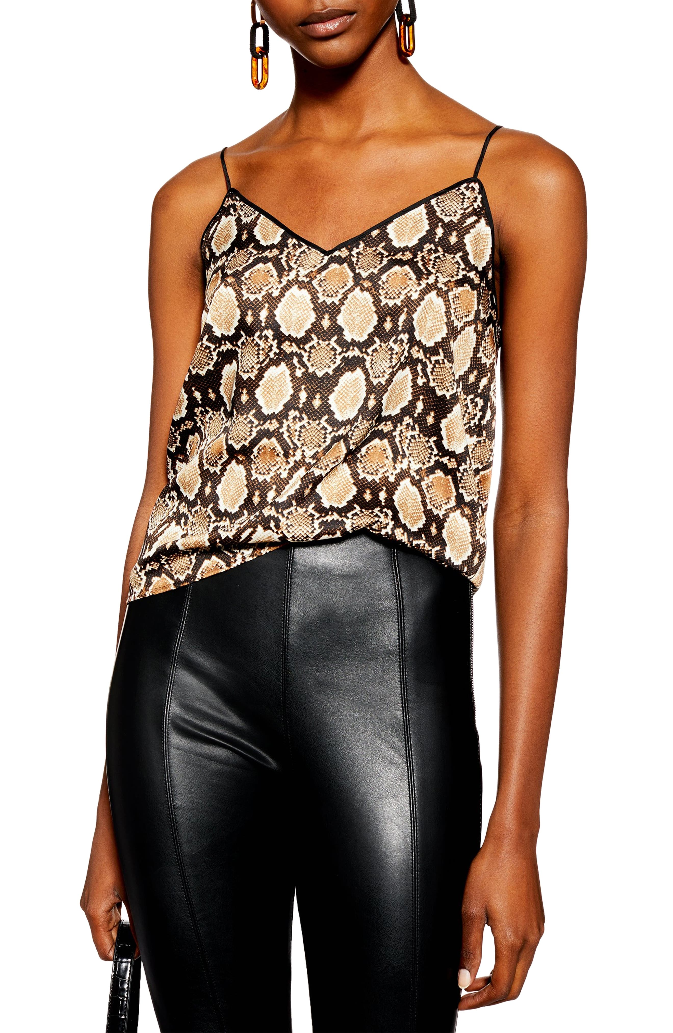Topshop Snake Print Piped Camisole, US (fits like 0) - Brown
