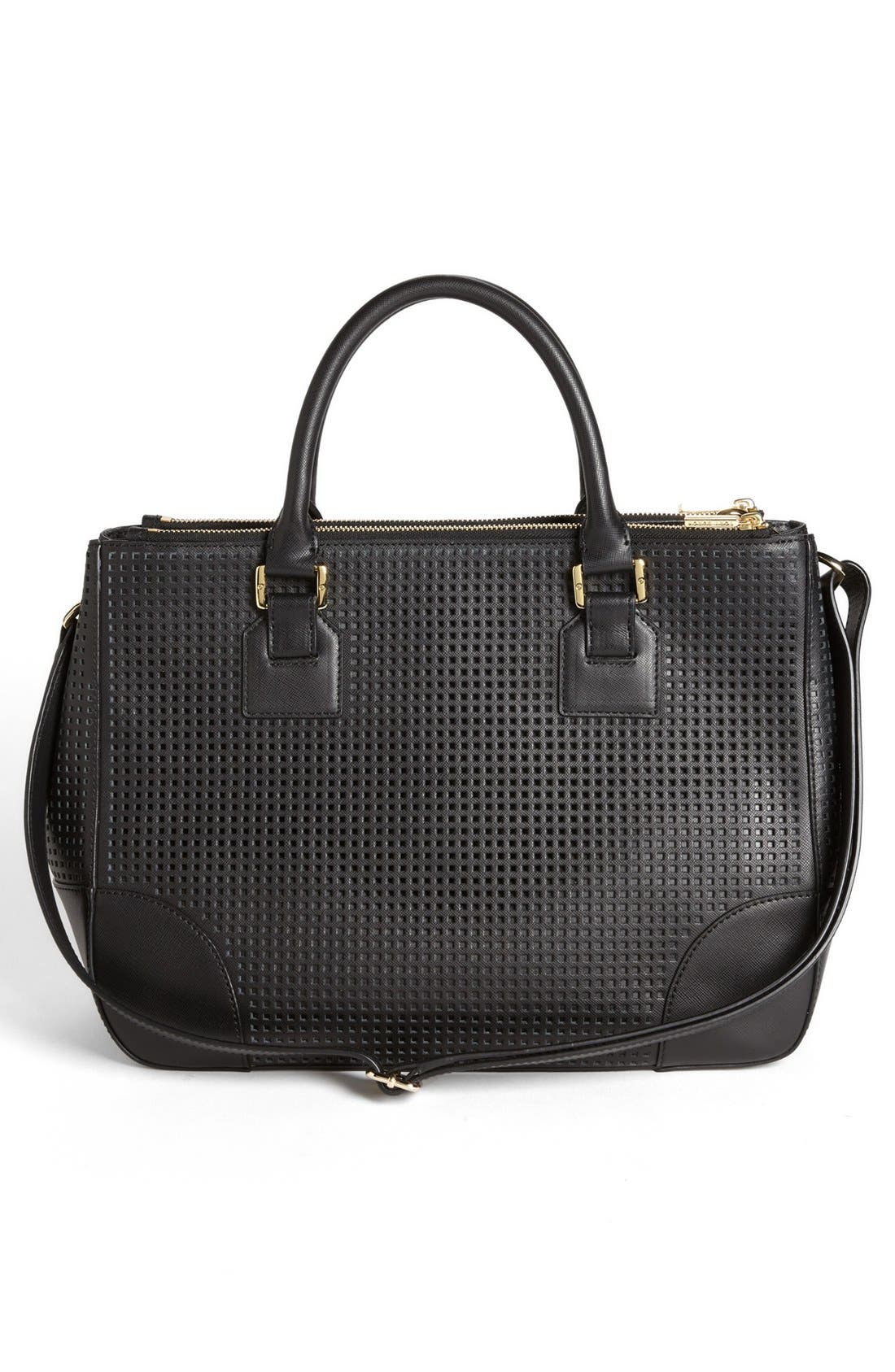 'Robinson' Double Zip Perforated Leather Tote,                             Alternate thumbnail 2, color,                             001