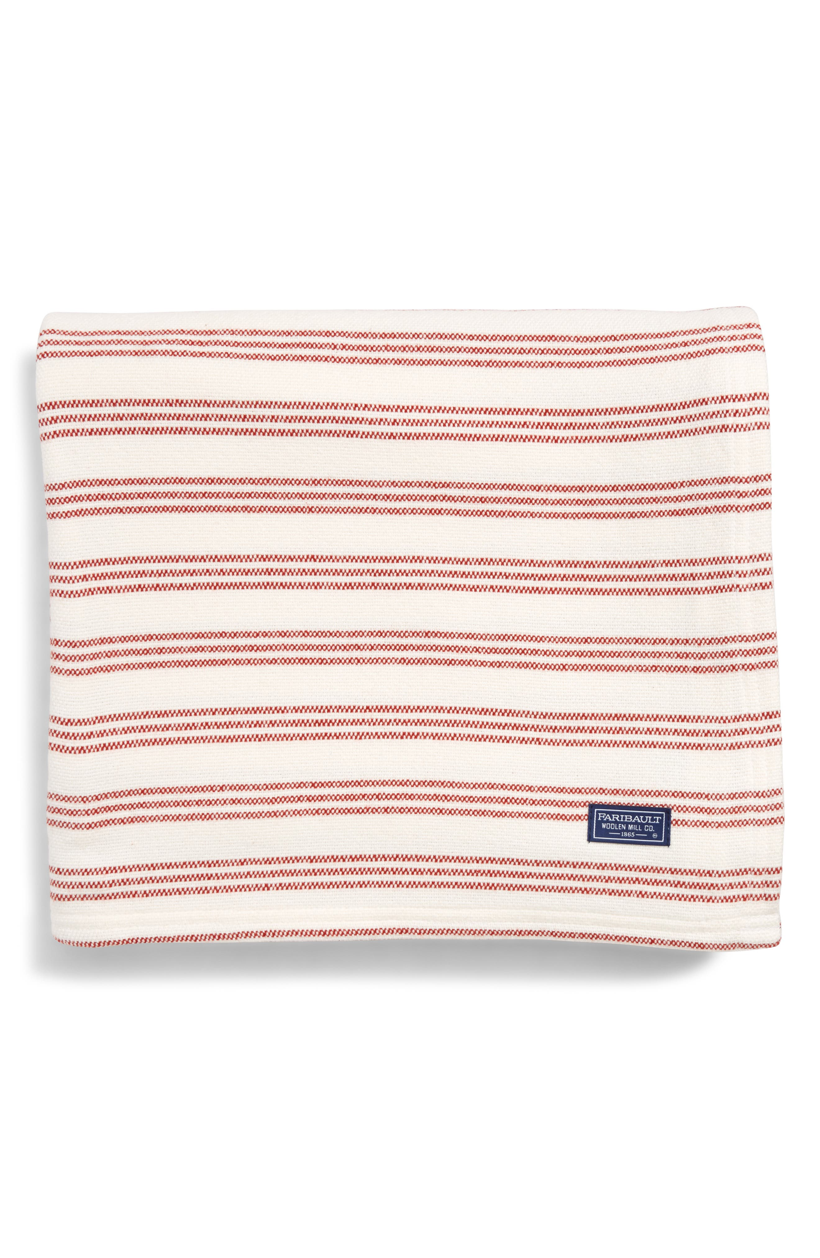 Stripe Throw Blanket,                             Main thumbnail 1, color,                             RED