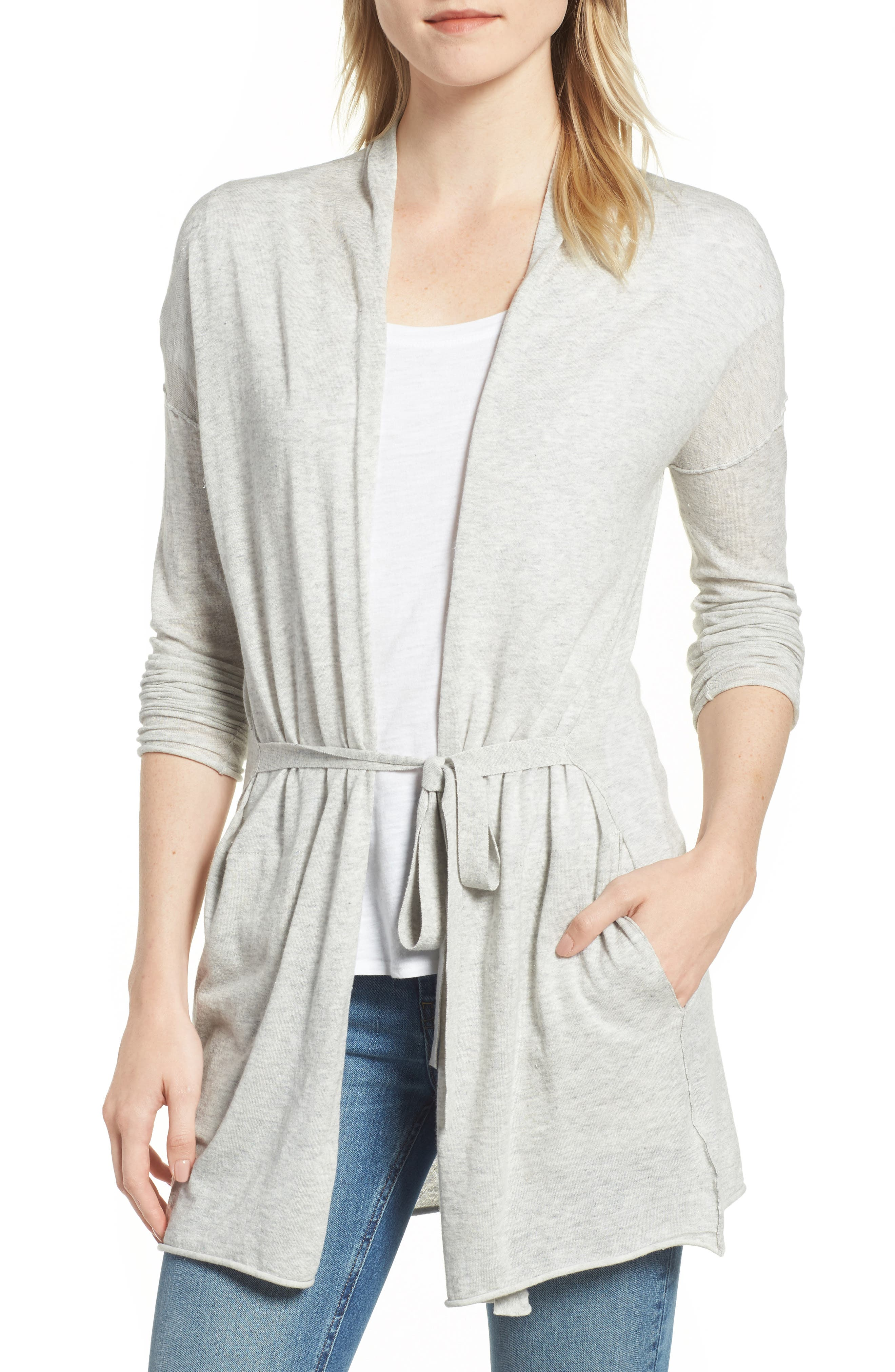 Belted Cotton Cardigan,                         Main,                         color, HEATHER GREY