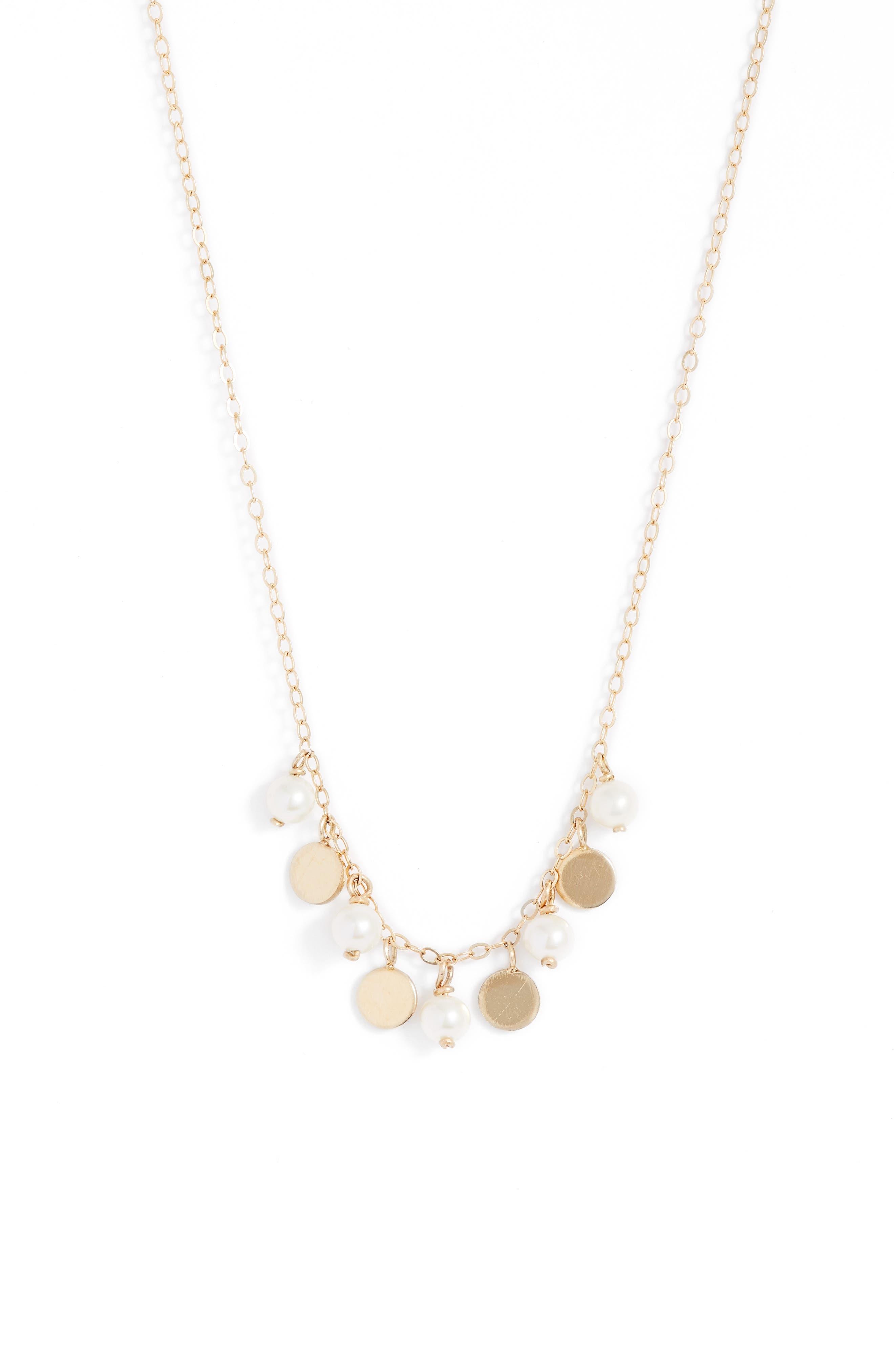 Confetti Pearl Gold Necklace,                         Main,                         color, YELLOW GOLD/ WHITE PEARL
