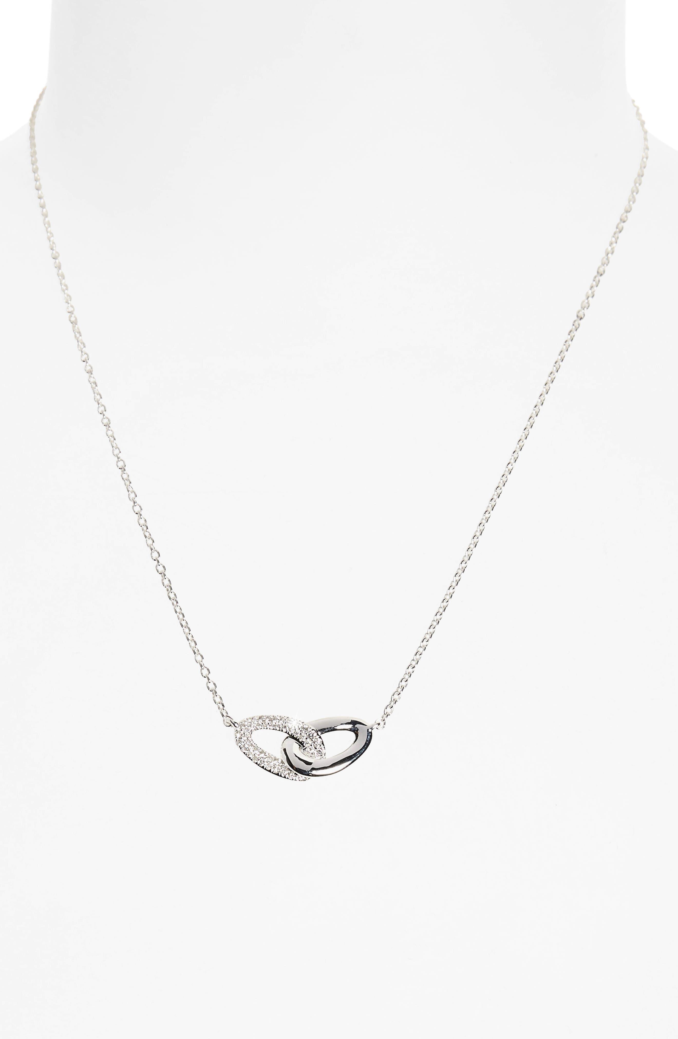 Cherish Interlocking Pendant Necklace,                             Alternate thumbnail 2, color,                             SILVER