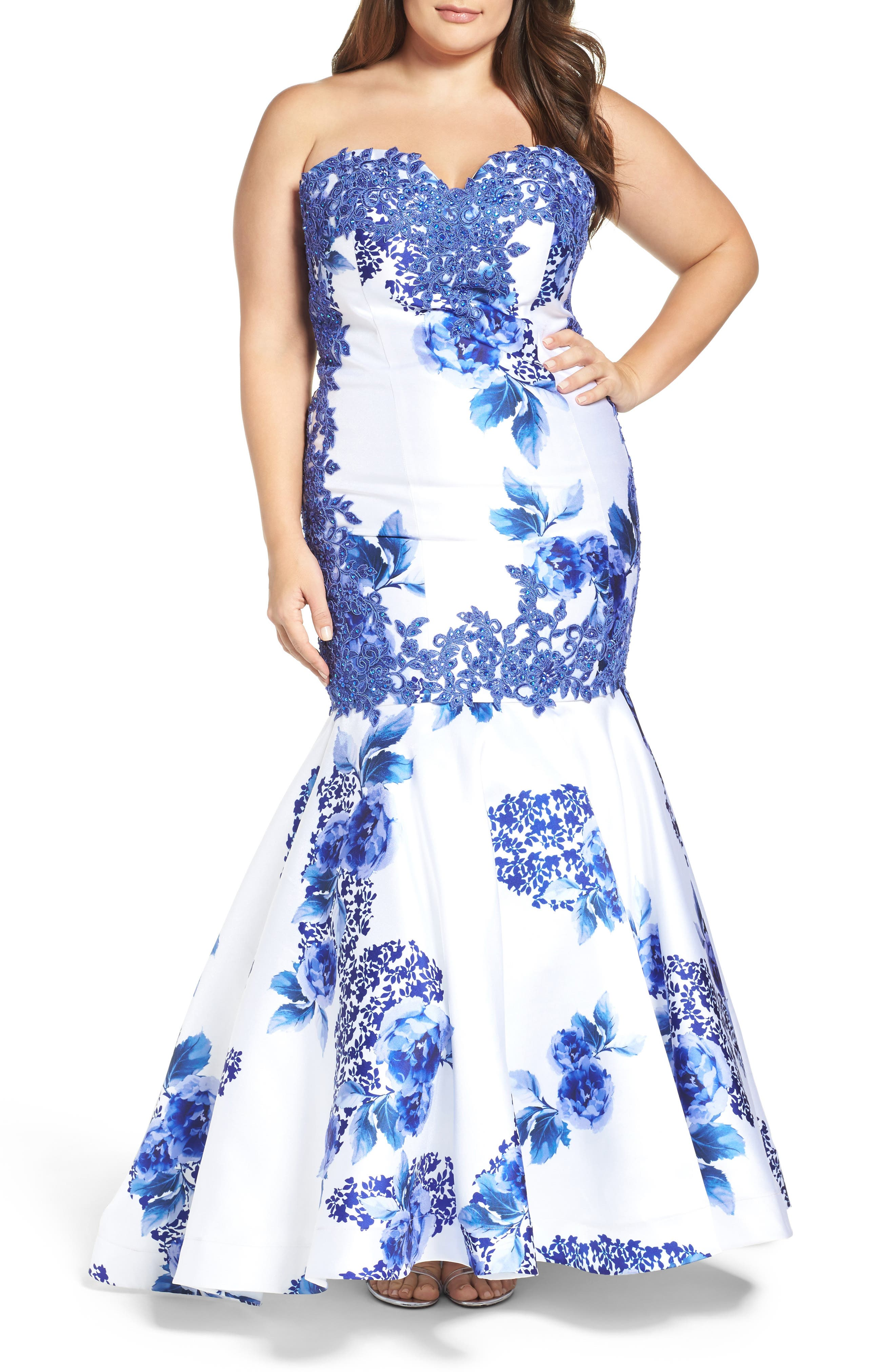 Embellished Strapless Zip Off Mermaid Gown,                             Main thumbnail 1, color,                             BLUE FLORAL