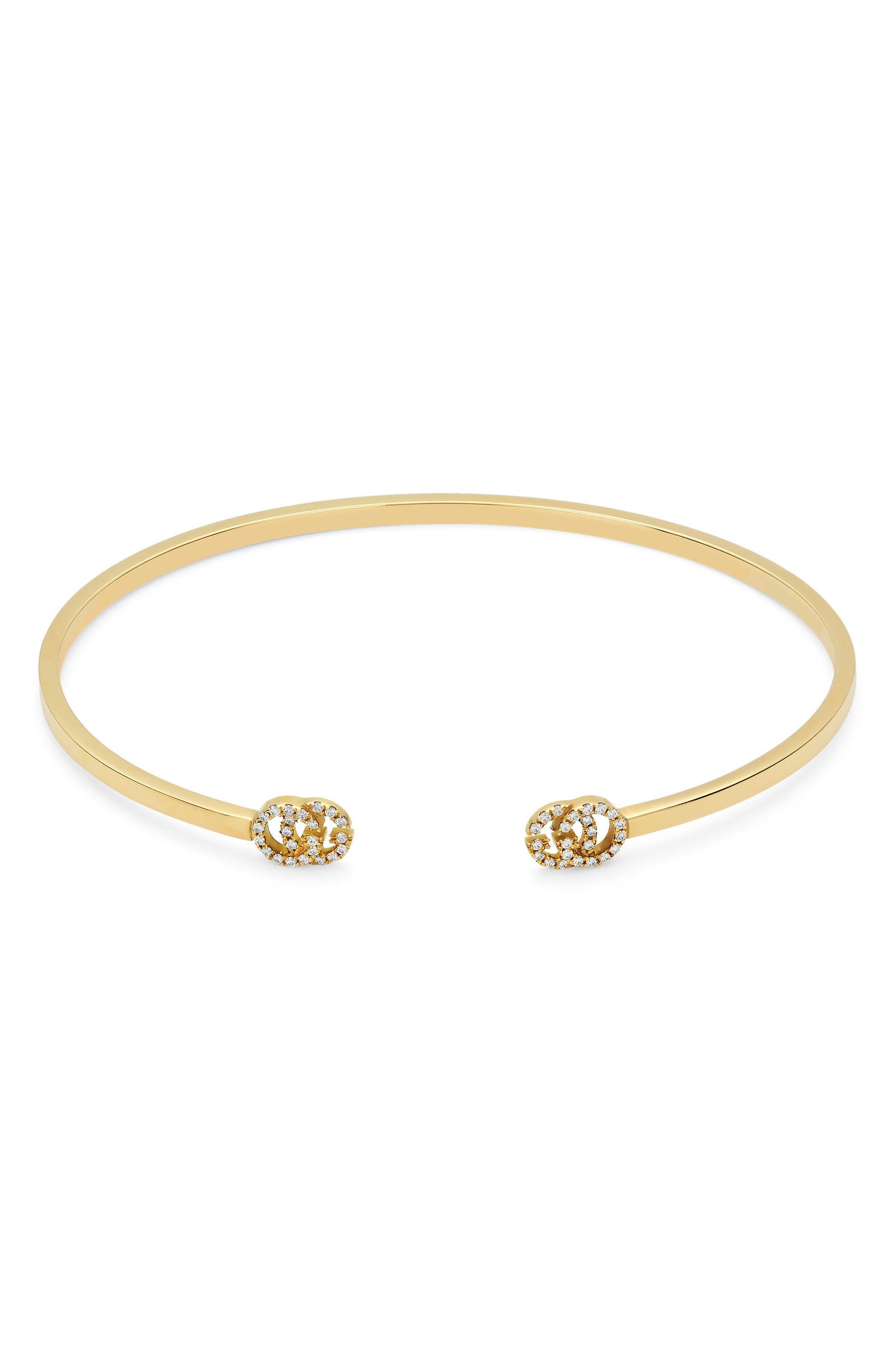 Double-G Diamond Cuff,                         Main,                         color, YELLOW GOLD