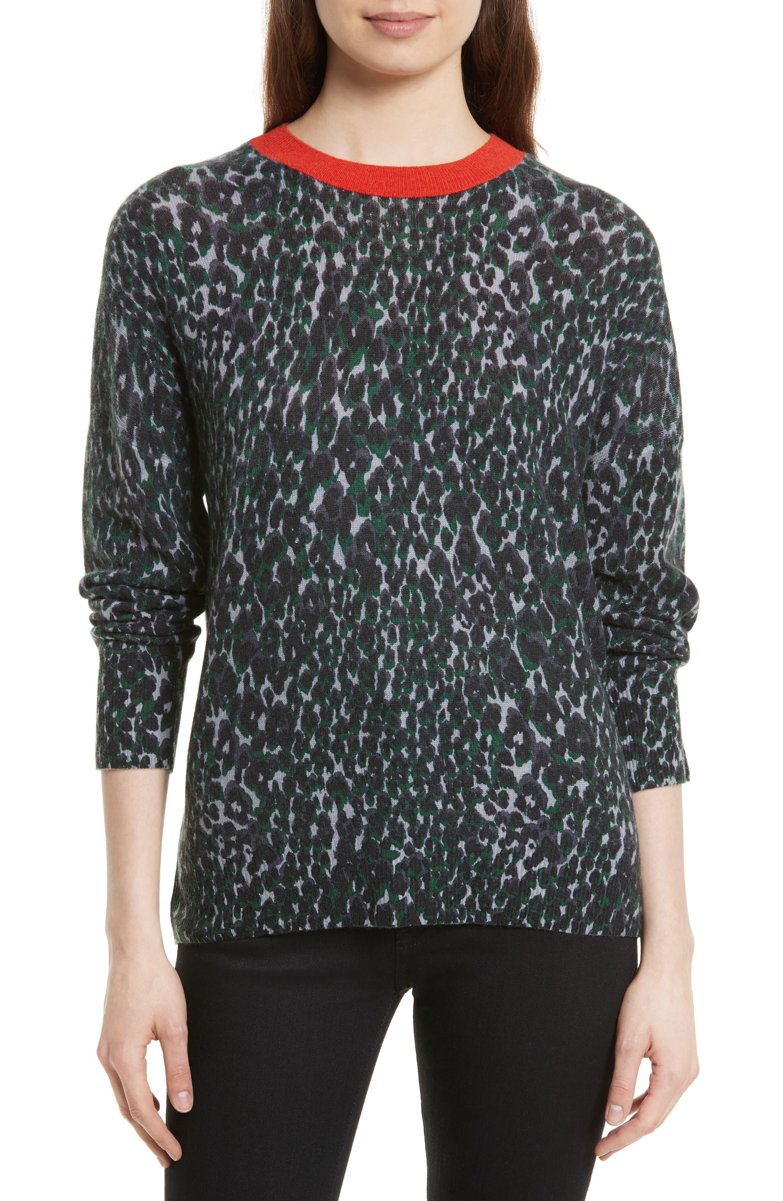 Melanie Leopard Print Cashmere Sweater,                             Main thumbnail 1, color,                             073