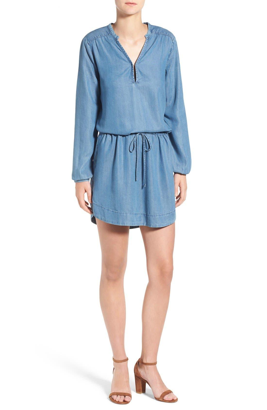 'Quianna' Chambray Tunic Dress, Main, color, 400