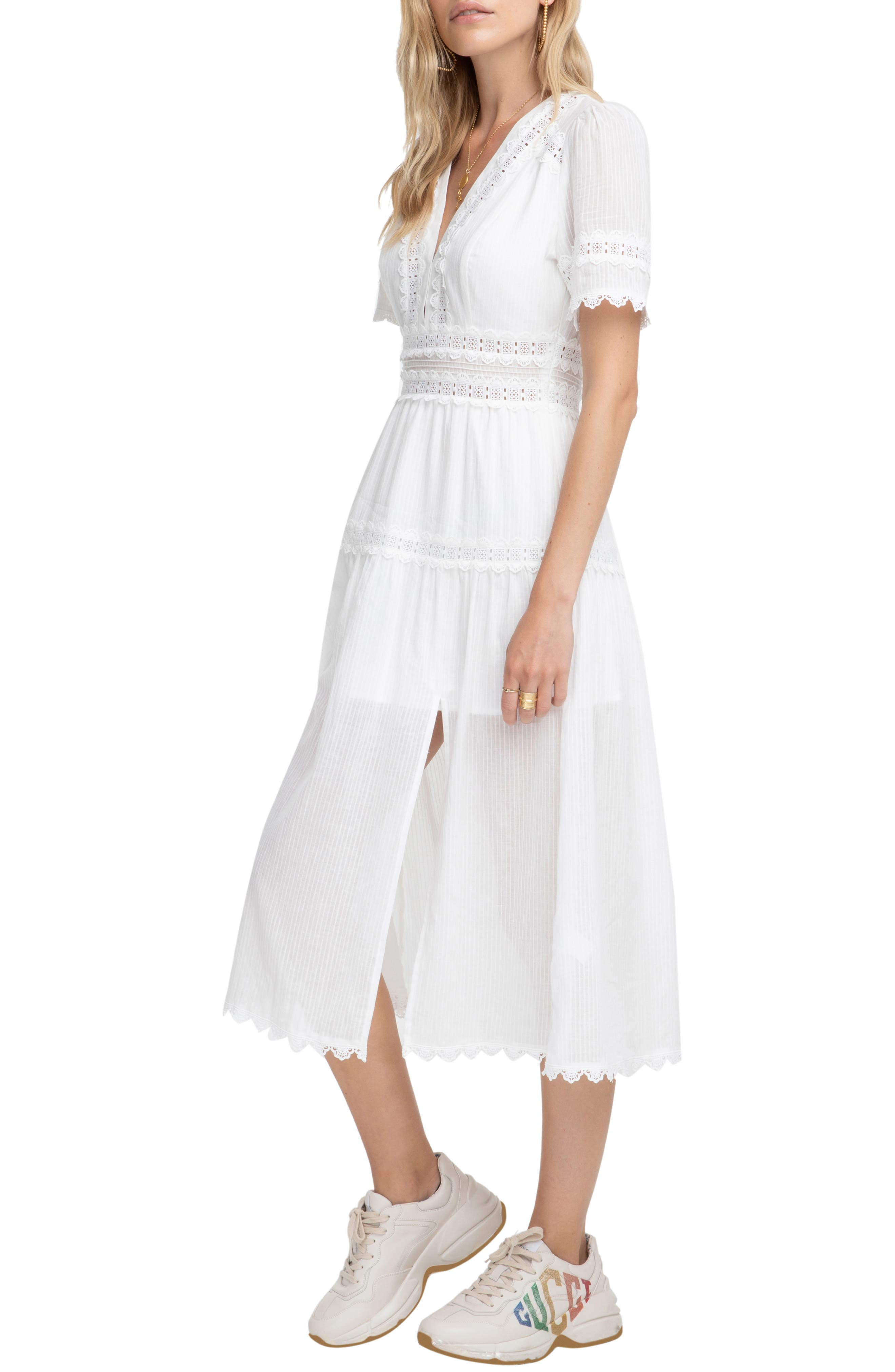 ASTR THE LABEL,                             Ari Midi Dress,                             Alternate thumbnail 3, color,                             WHITE